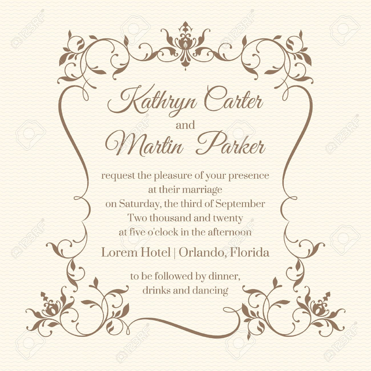 Wedding invitation. Design classic cards. Decorative floral frame. Template for greeting cards, invitations. Graphic design page. - 52539741