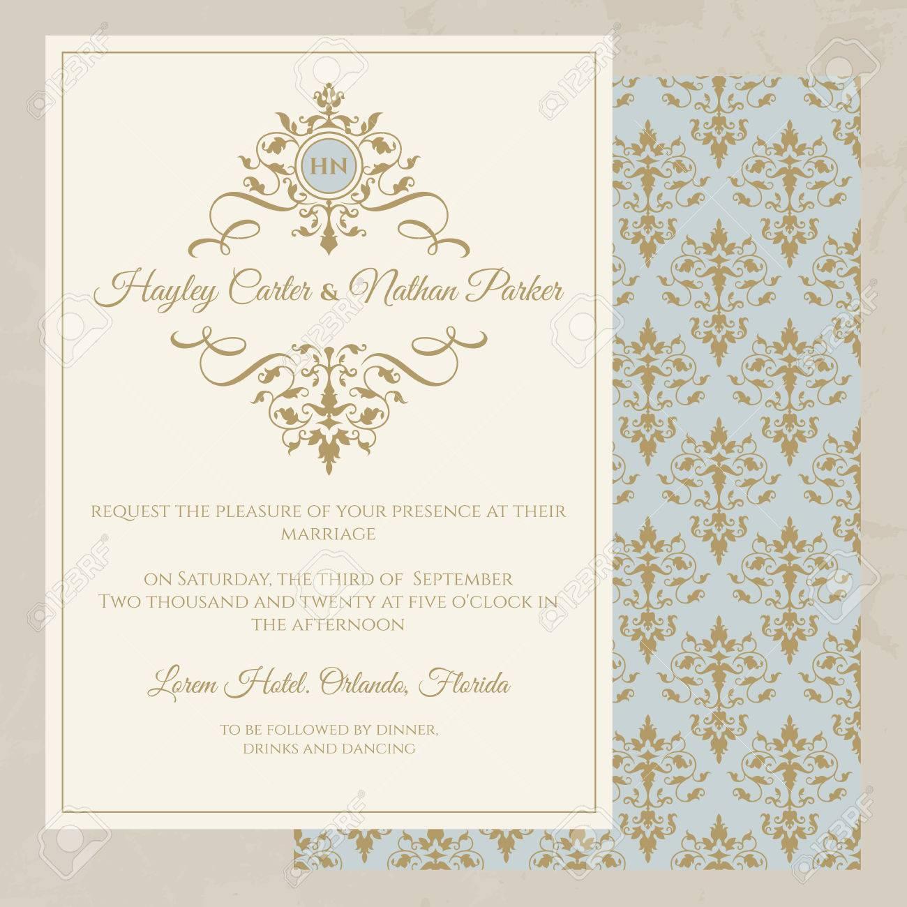 Wedding Invitation. Classic Seamless Pattern. Decorative Floral ...