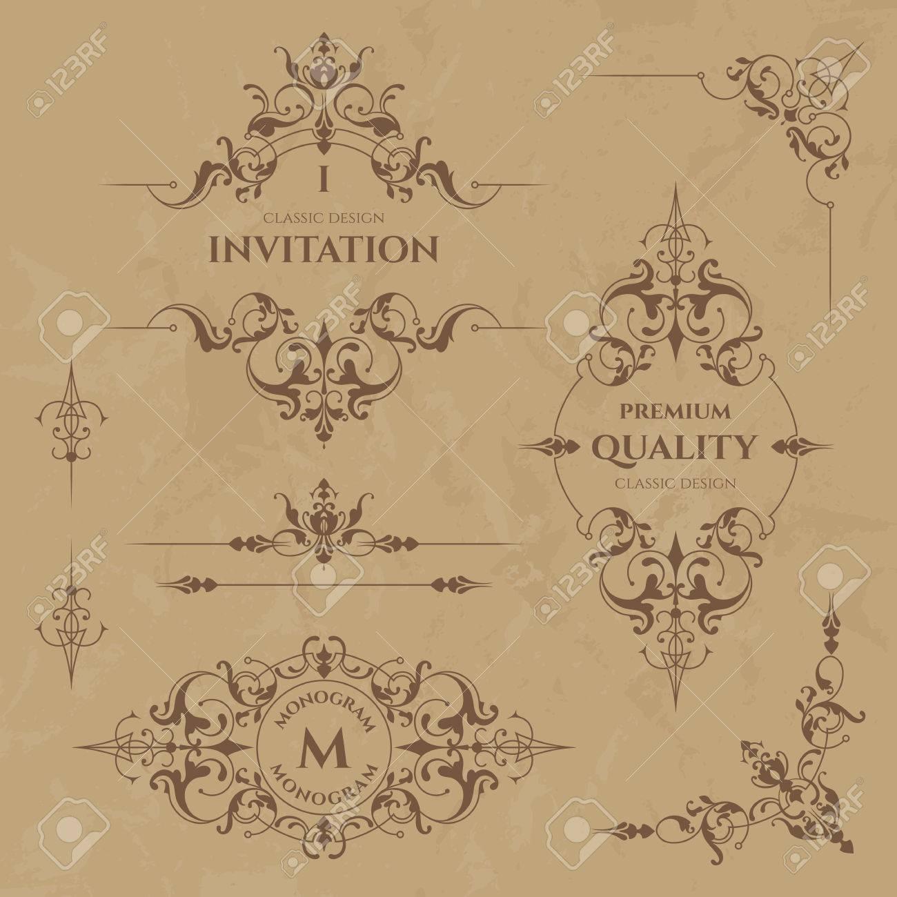 Set Dekorative Ränder, Rahmen, Ecken Und Monogramme. Vorlage ...