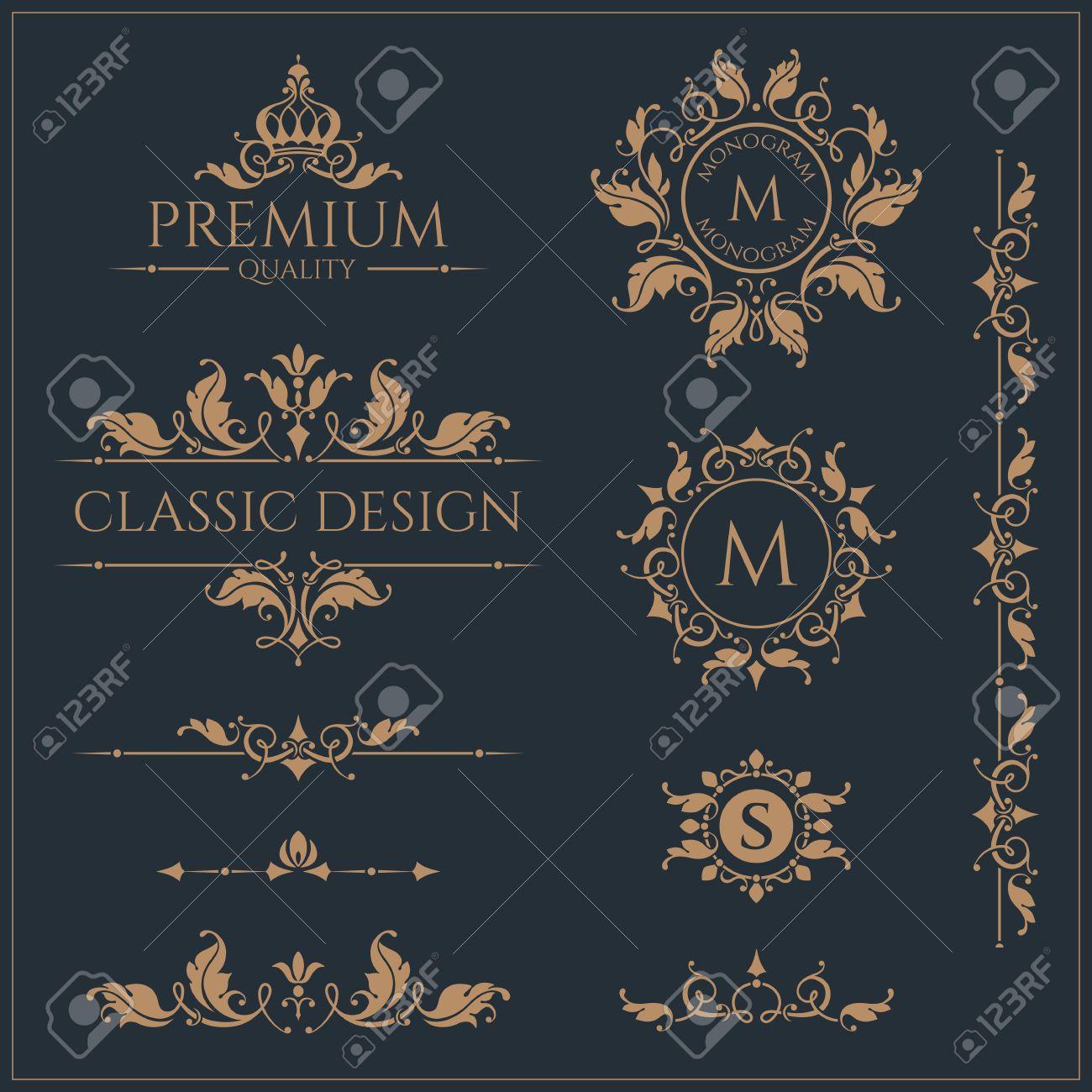 Monogramas Y Bordes Florales Marcos Para Tarjetas Invitaciones Menús Etiquetas Páginas De Diseño Gráfico Rótulo De Establecimiento Boutiques