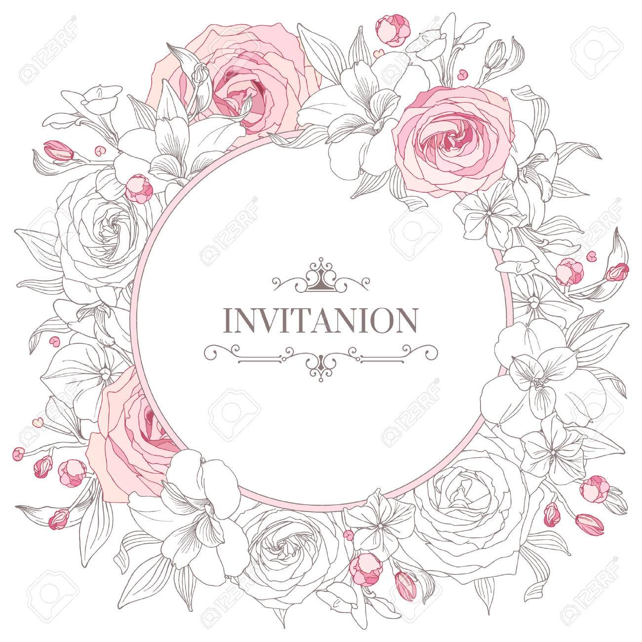 Greeting card with flowers. Hand-drawn floral wreaths. Wedding card template. - 56699689