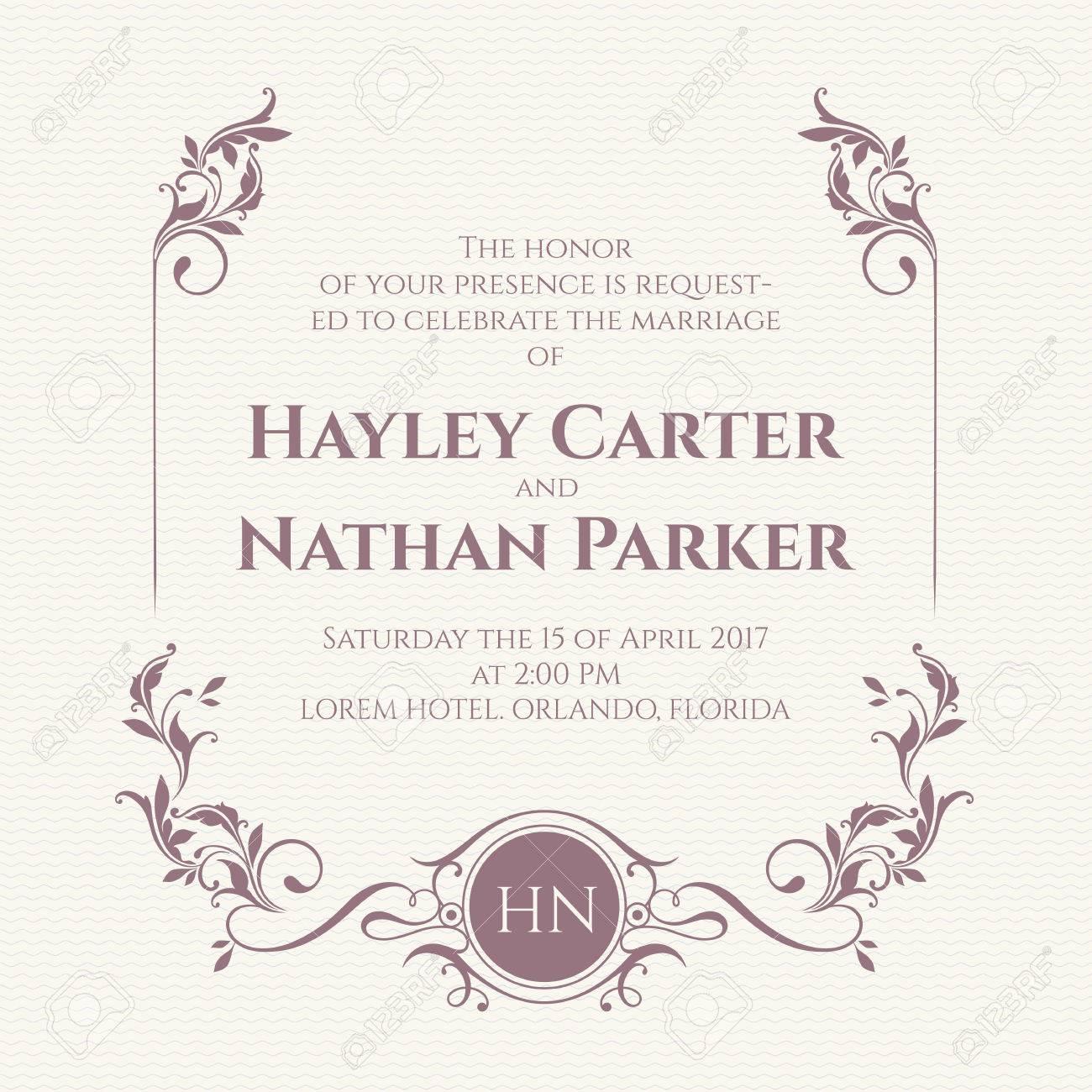 Graphic Design Page. Wedding Invitation. Decorative Floral Frame ...