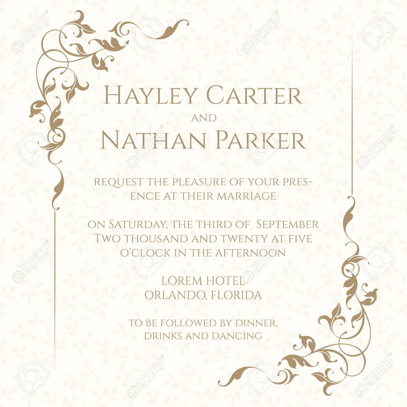 Invitation card with floral frame on seamless background. Classic design page. Wedding invitation, Save The Date, valentines day, birthday cards. - 61240494