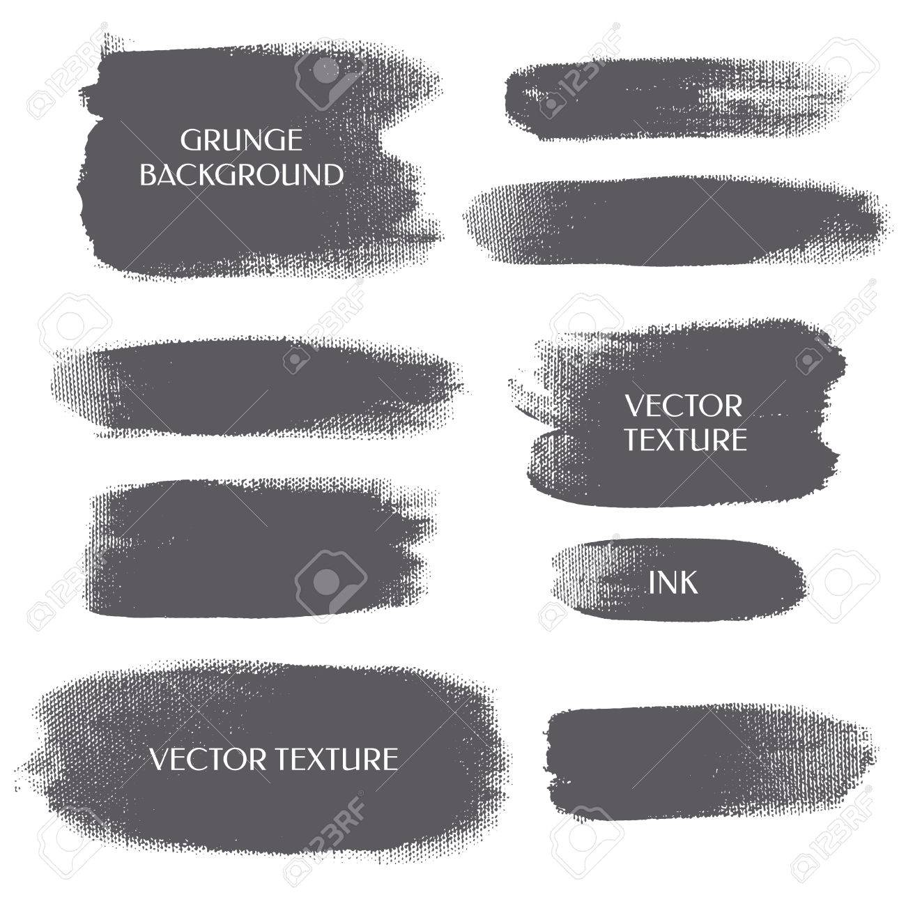 Set of grunge background. Silhouette strip. Vector texture. Brush ink - rough, artistic edges. - 61240503