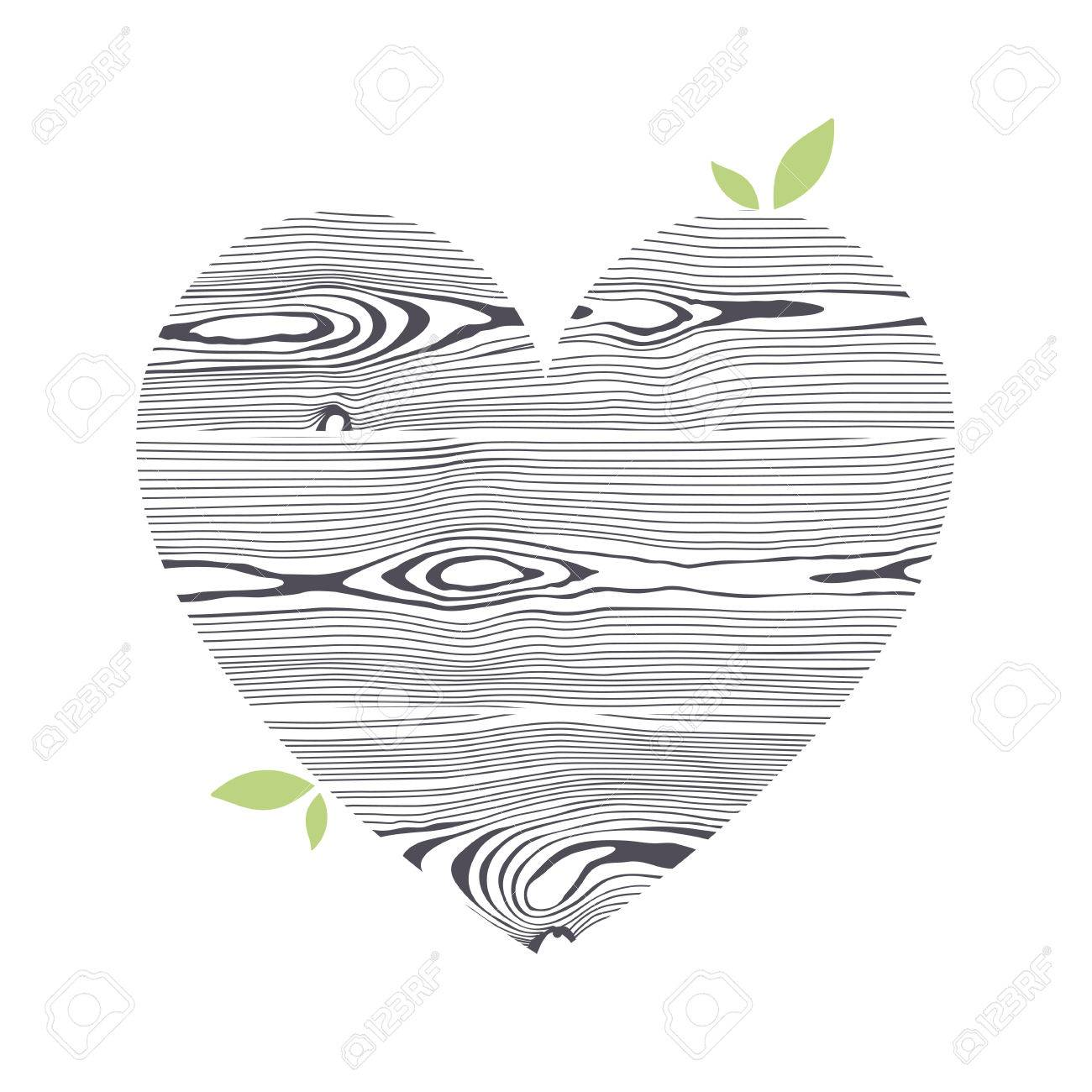 Wooden textured graphic heart. Stylized isolated symbol. - 61772143