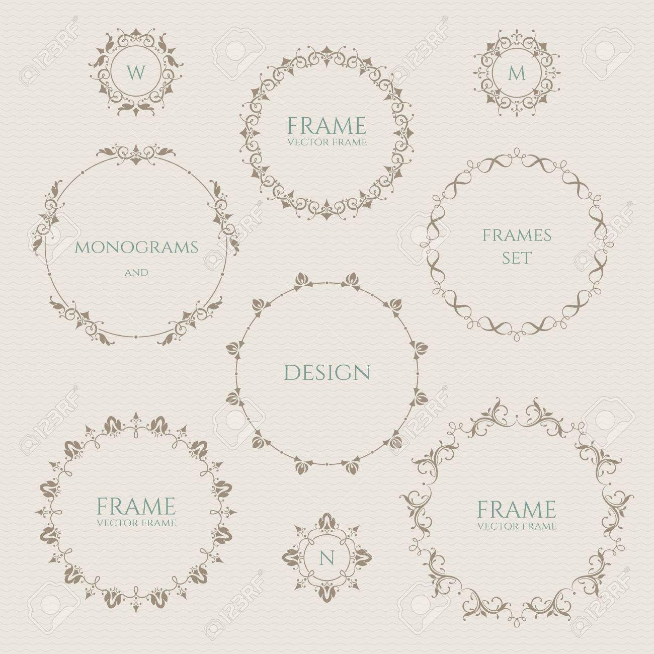 graphic regarding Round Printable Labels named Fastened of spherical frames and monograms. Template labels, stickers,..