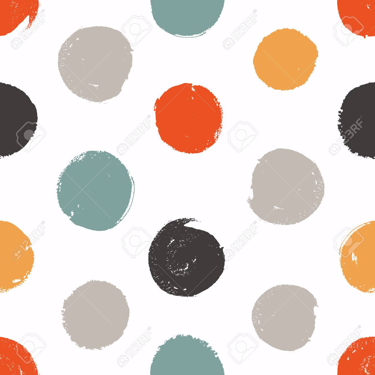 Seamless circles. Vector texture. Painted background with colored circles. - 61772147