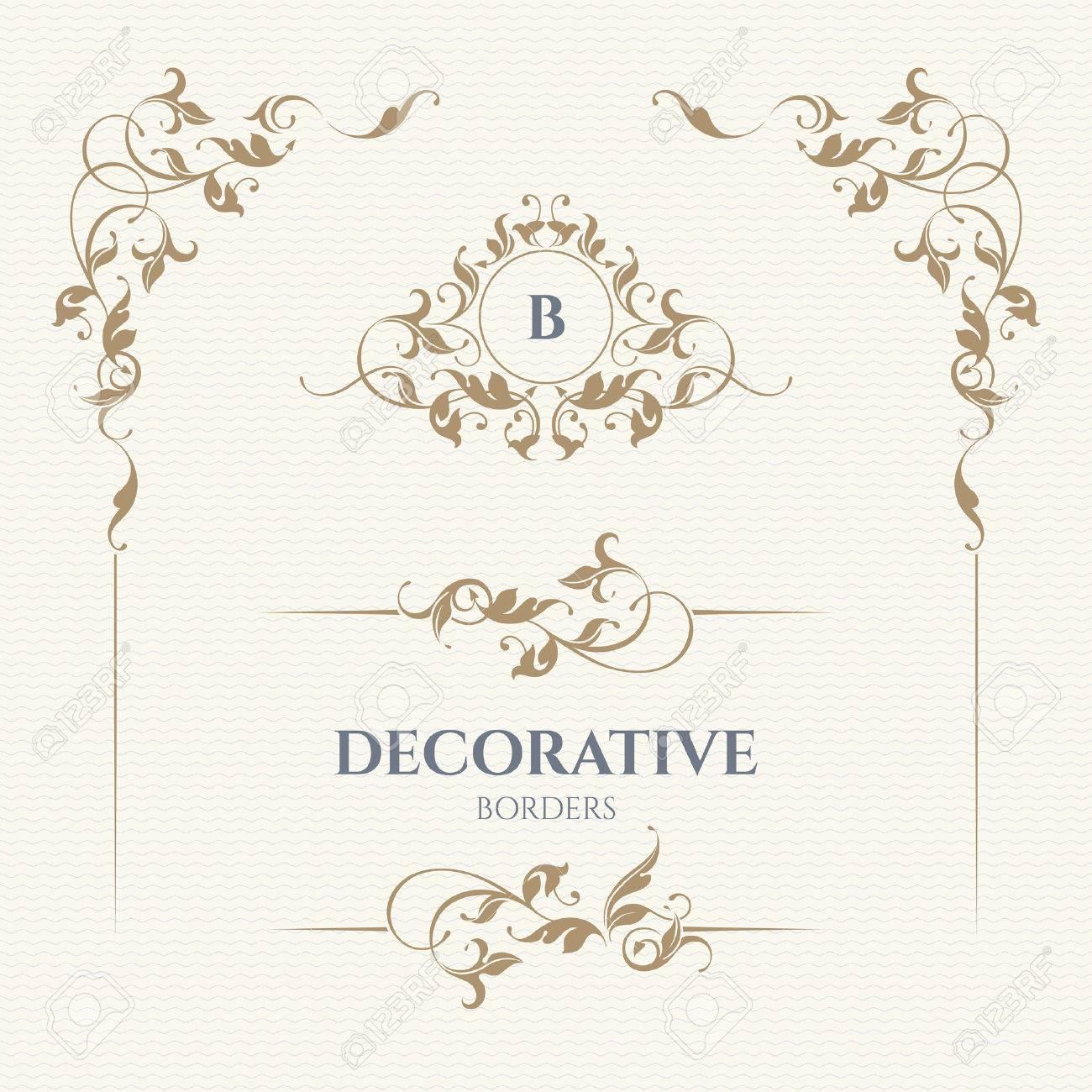 Monograma Decorativo Del Vector Y De La Frontera Para Las Tarjetas Invitaciones Menús Etiquetas Páginas De Diseño Gráfico Rótulo De
