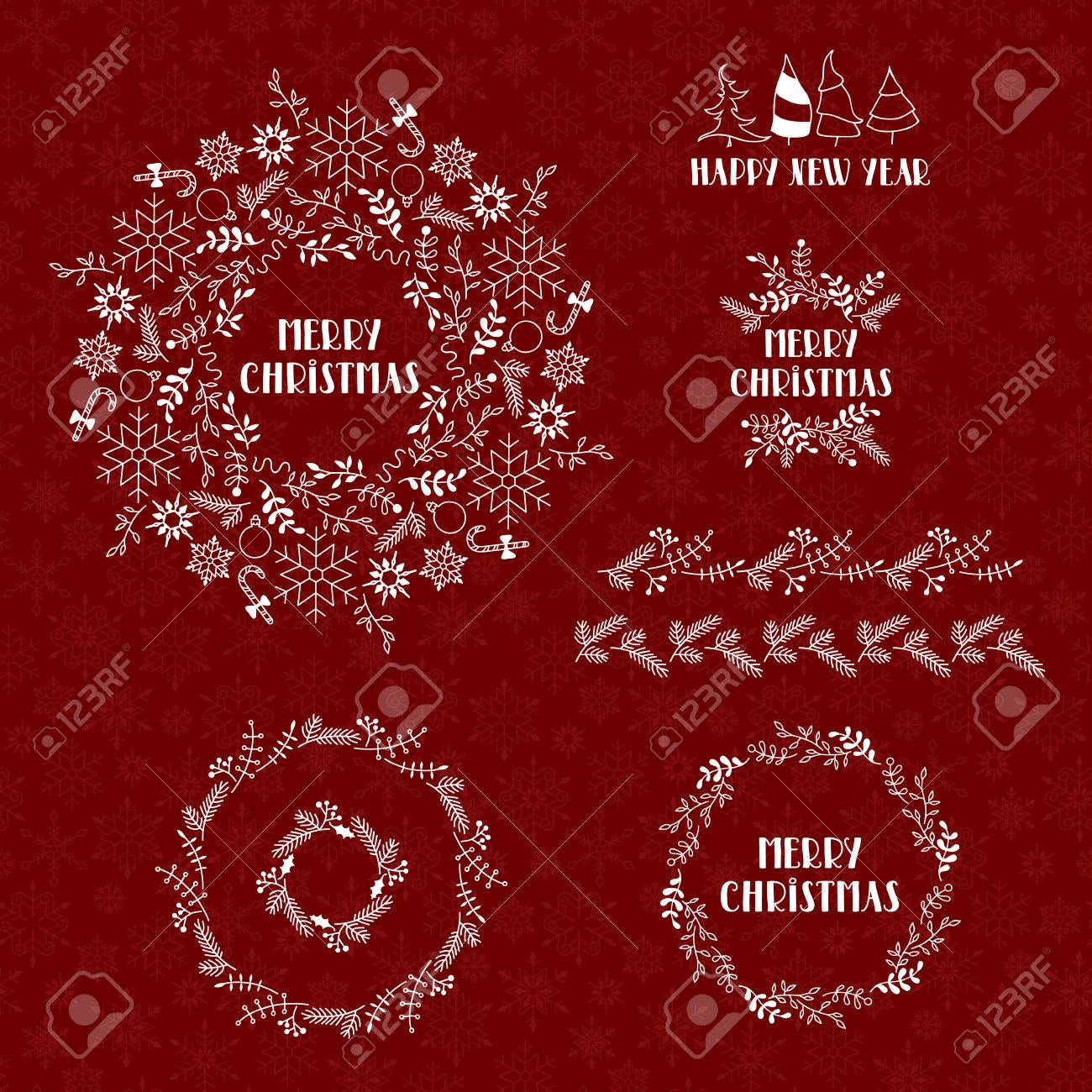 Merry Christmas and Happy New Year. Vector illustration. White Christmas wreaths on red background. Seamless pattern from snowflakes. - 64453720