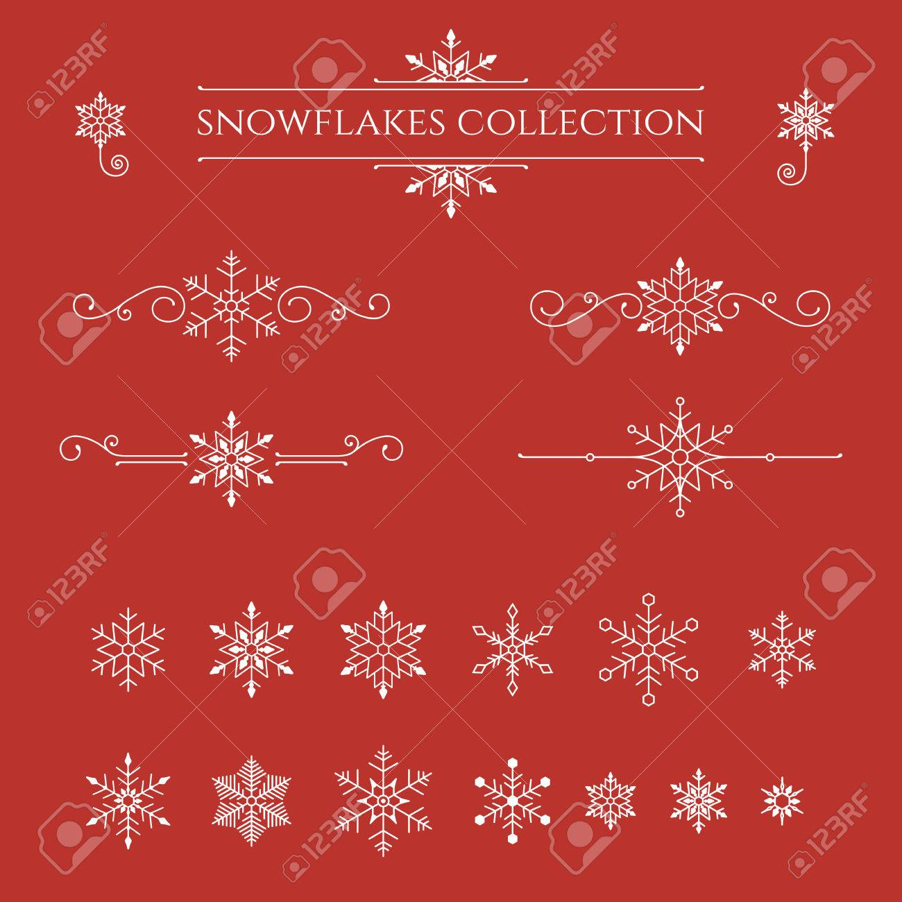 Set of snowflakes on red background. Winter decorative element. Vector illustration. - 64453721