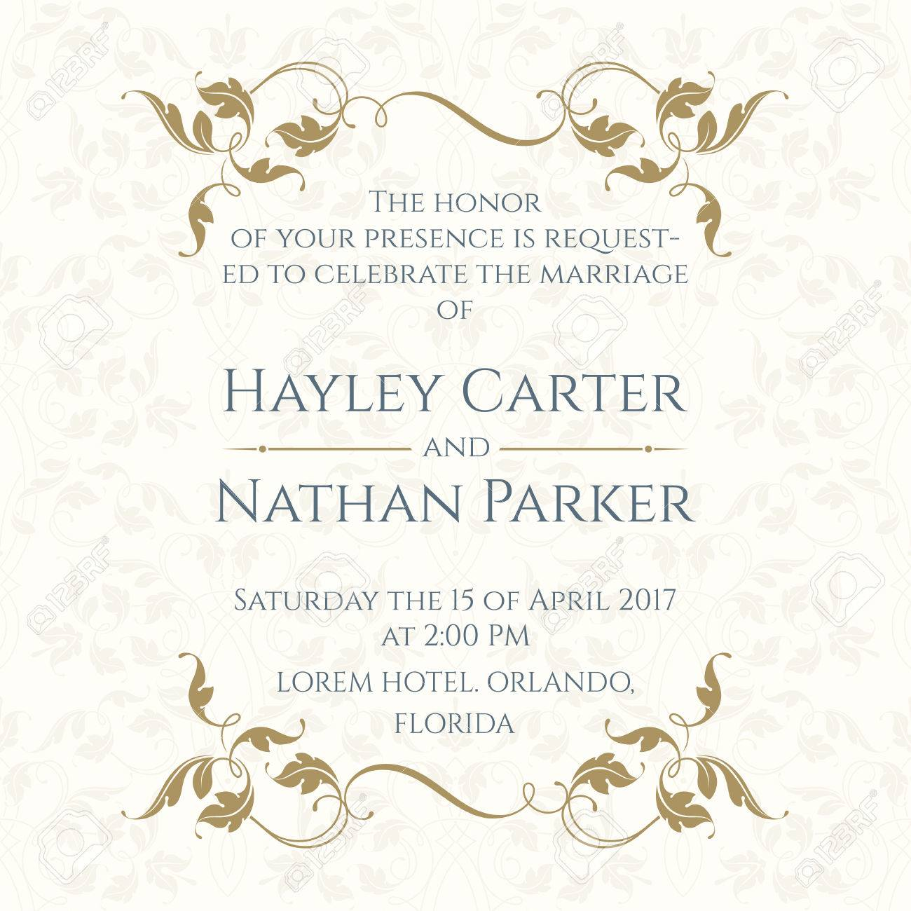 Invitation Card with Floral borders on Seamless Background. Wedding invitation, Save The Date, Valentines Day, Birthday Cards. Vector Template Cards. - 68802288
