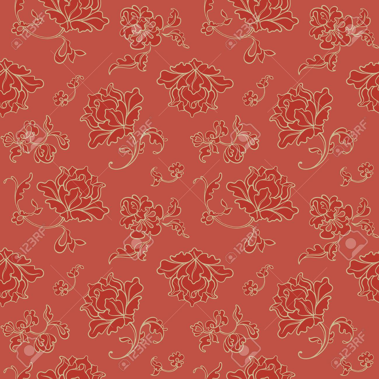 Seamless pattern. Decorative Red Background. Vector illustration. Floral background for cards, invitations, packing, textiles. - 118096363