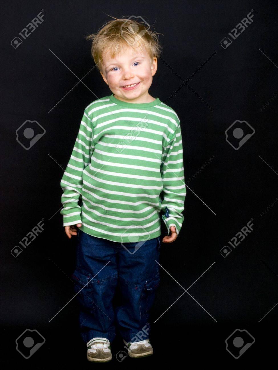 Smiling Little Boy On Black Background Boy Have Blue Eyes Blond