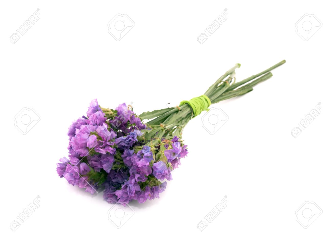 Small Bouquet Of Pink Statice Flowers On White Background Stock