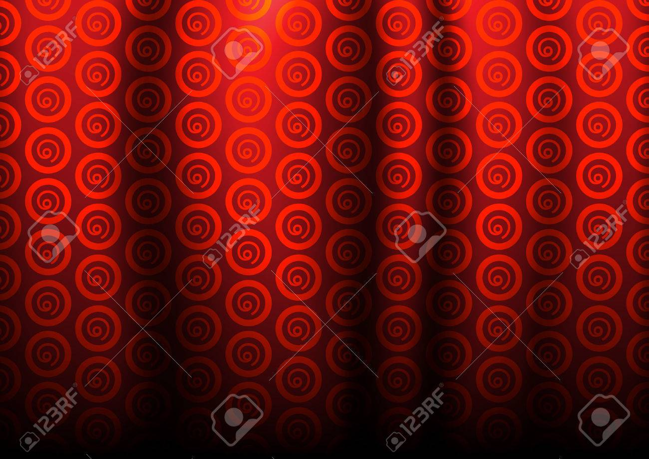 Circle Dark Red Pattern For Curtains Stock Vector