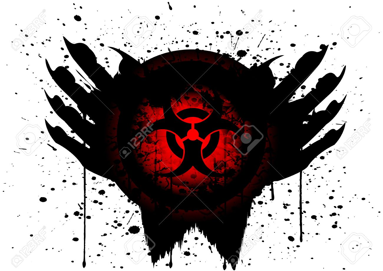 Biohazard Symbol On Circle And Hand Blood Drop Isolate Royalty Free