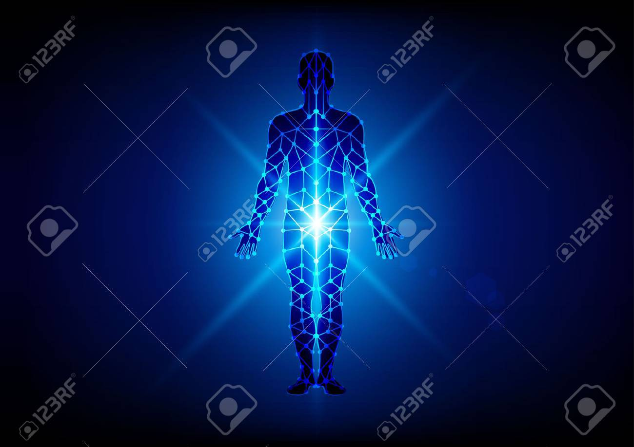 Abstract body with mesh on blue background. illustration design - 57411978