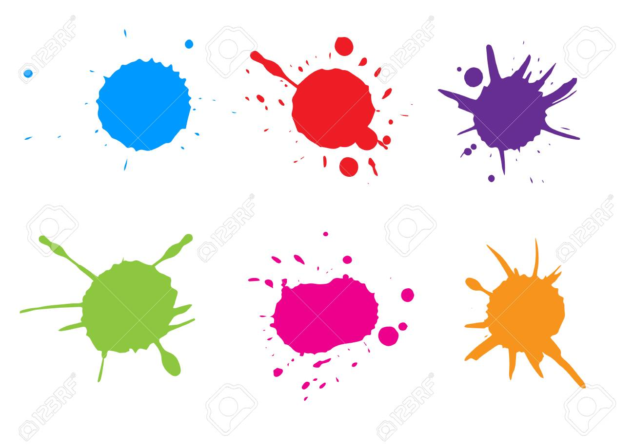 vector colorful paint splatter paint splash set vector rh 123rf com paint splatter vector illustrator free paint splatter vector free download illustrator