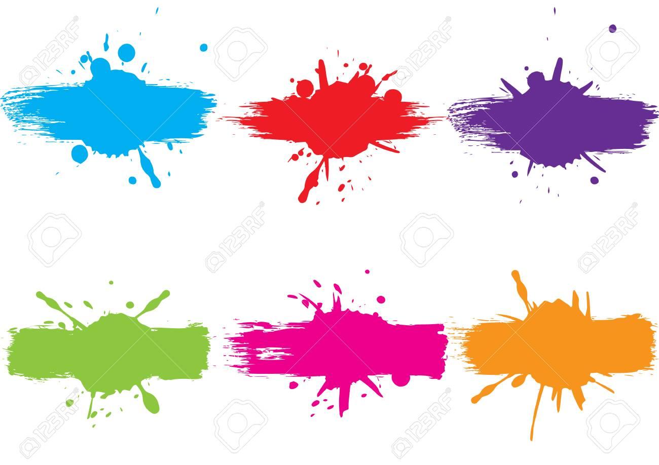 abstract vector splatter label set background illustration vector