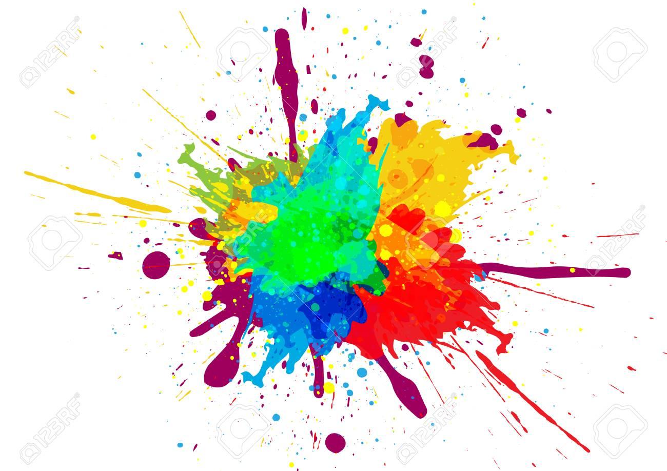 Colorful paint splatter design - 92991167