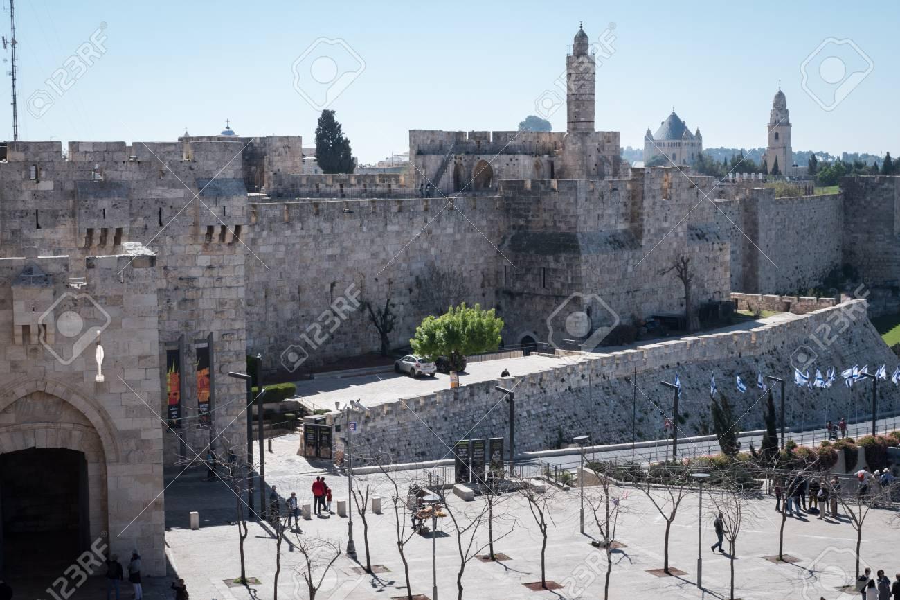 Jerusalem, Israel - March 17th, 2018: People walk the street