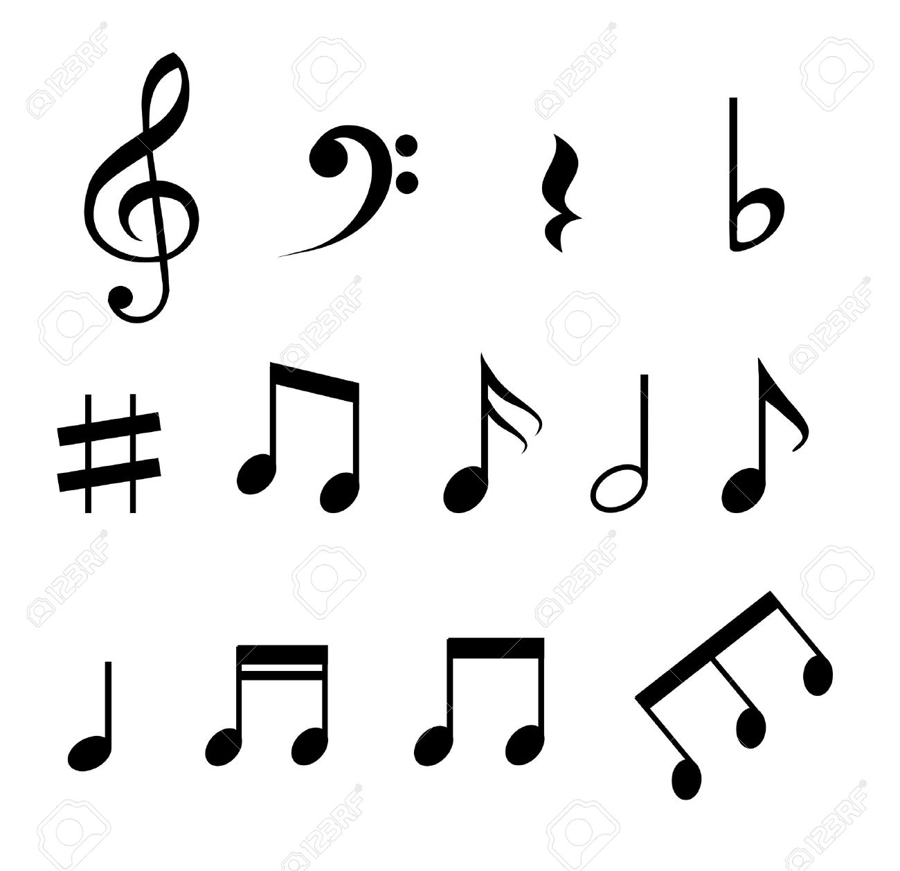 set of music notes vector royalty free cliparts vectors and