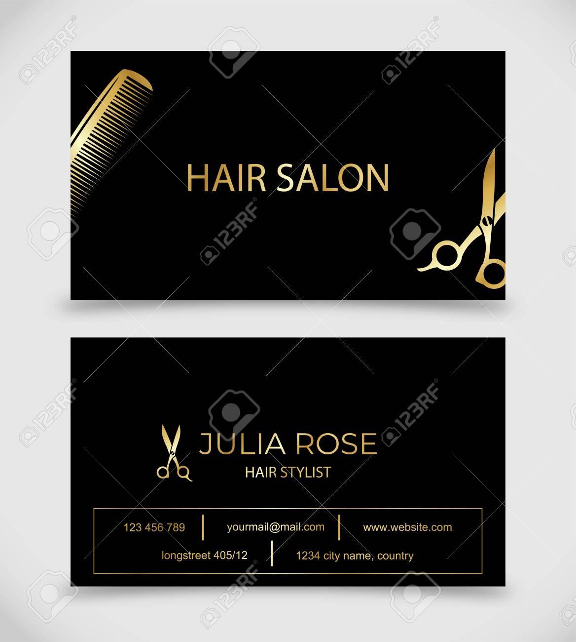 Hair Salon Hair Stylist Business Card Vector Template