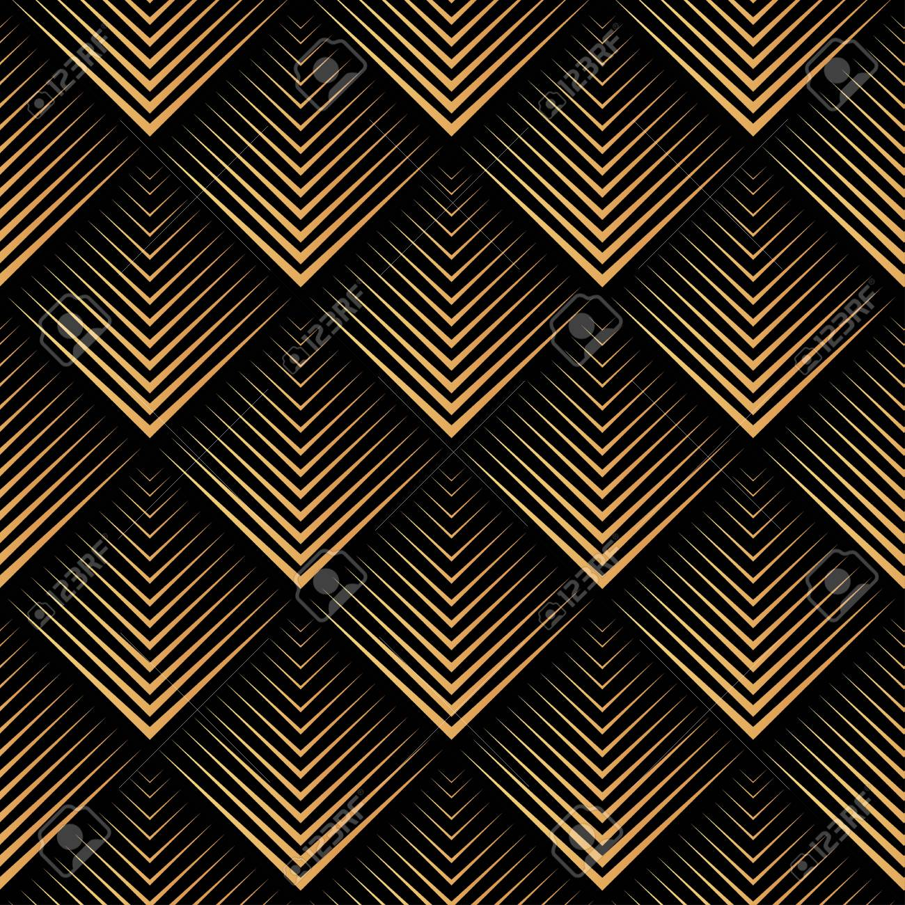 Art Deco, geometric, vector seamless pattern , gold on black