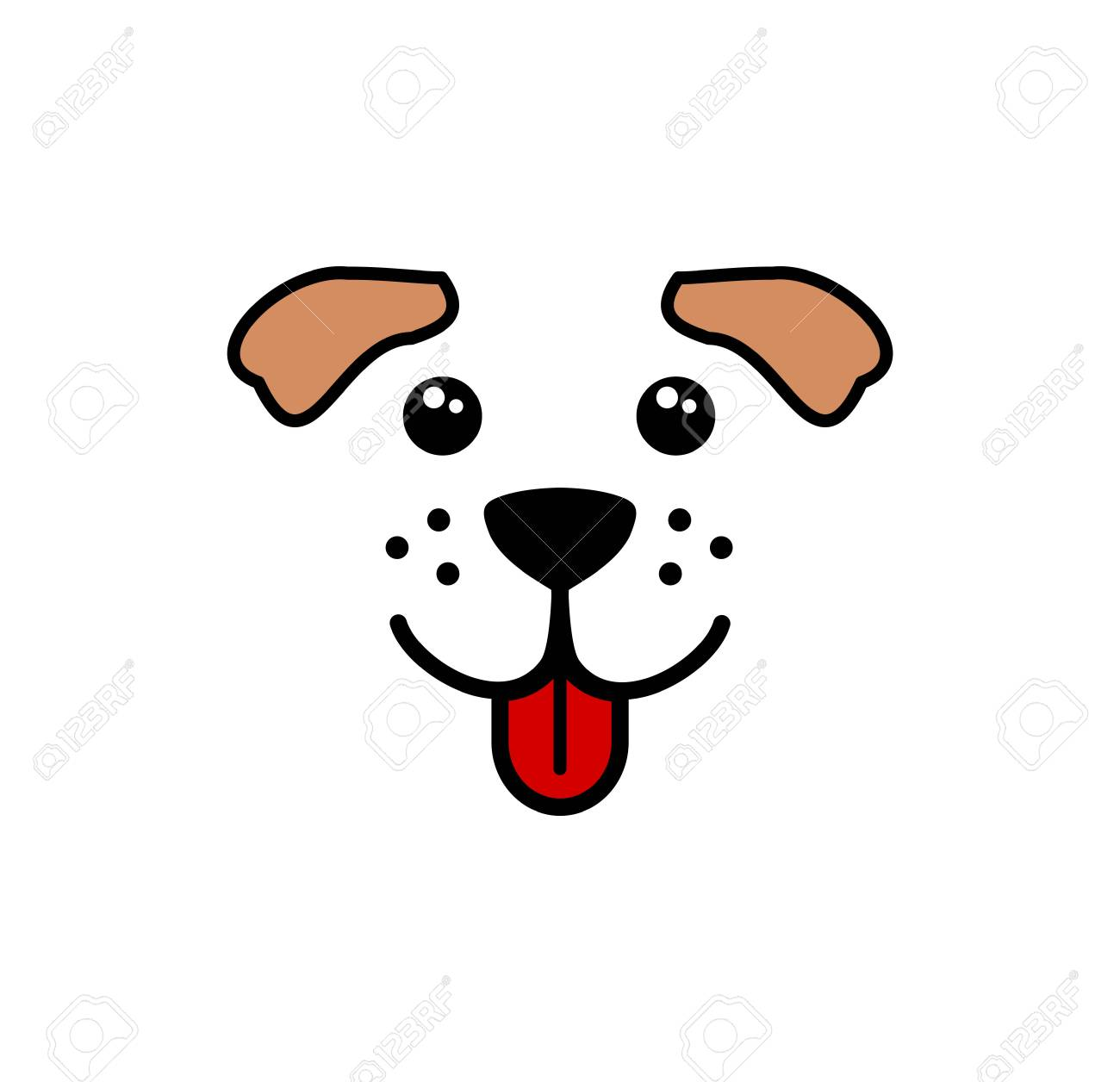 Cute Simple Dog Face Vector Royalty Free Cliparts Vectors And