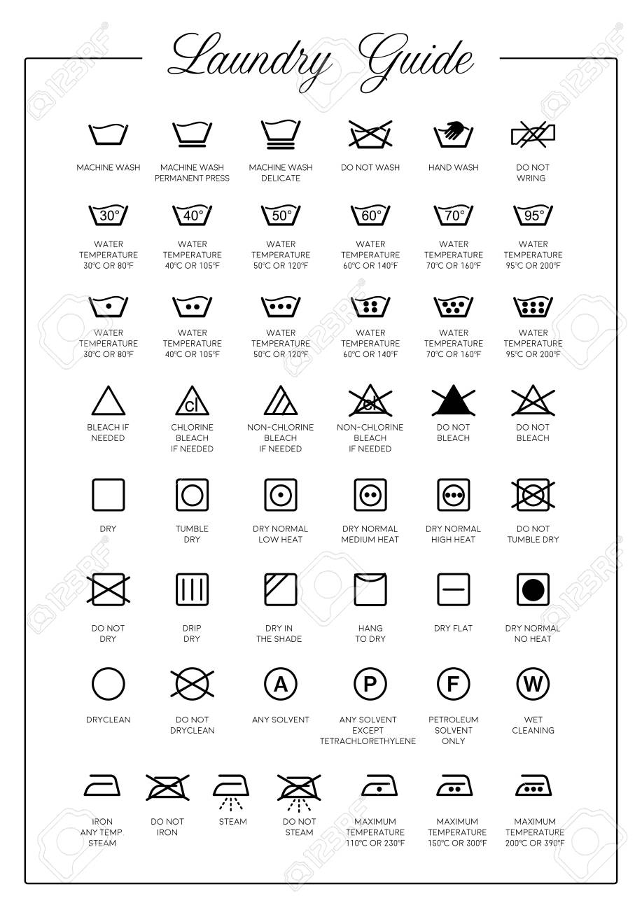 Laundry Guide vector icons, symbols collection - 110564992