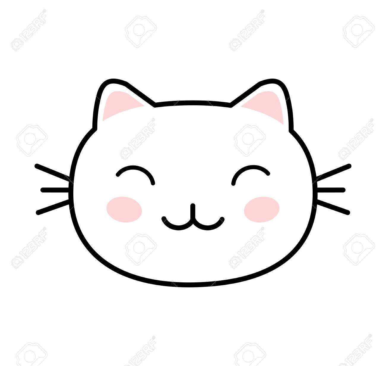 Kawaii style cute cat vector - 128742627