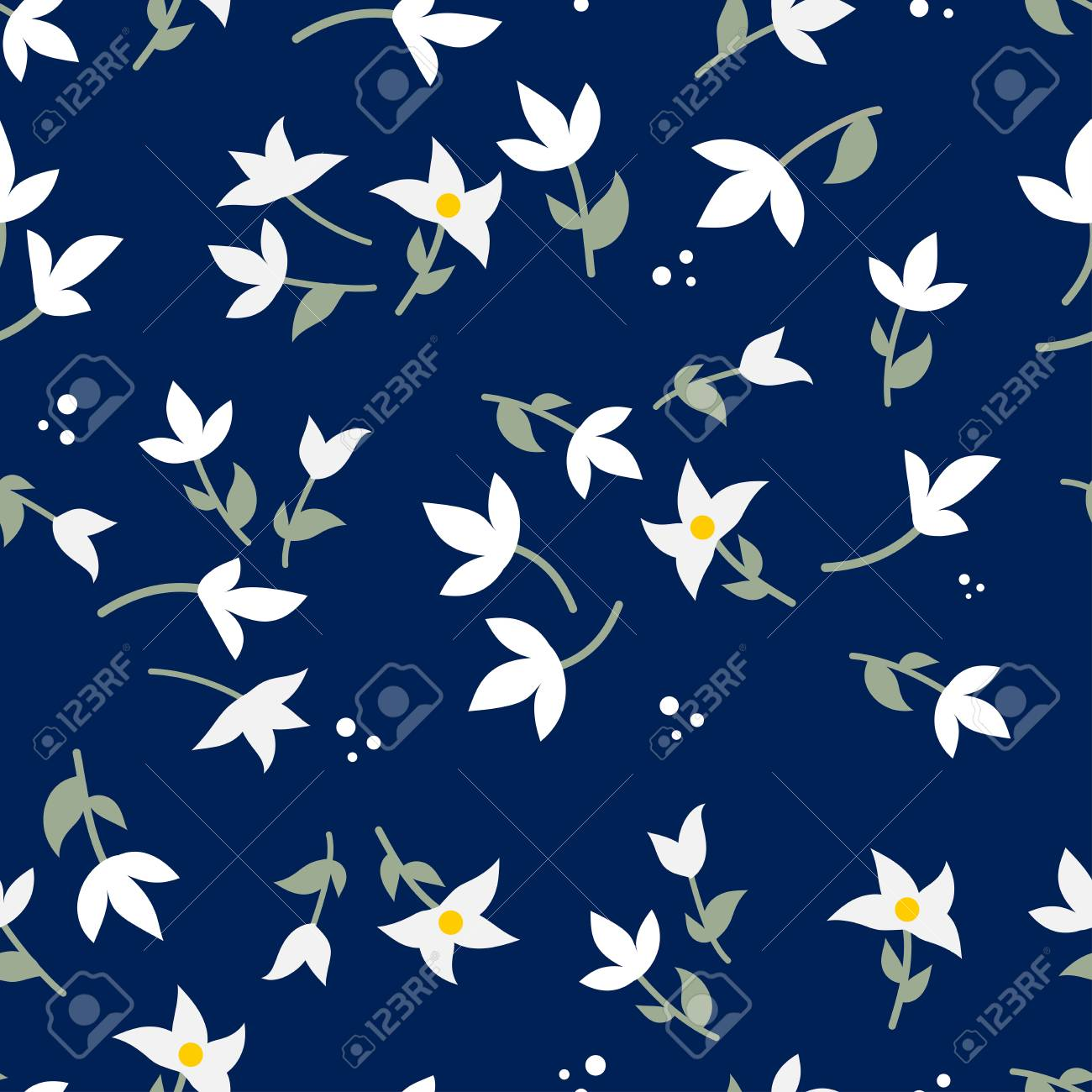 Beautiful floral seamless pattern vector - 124749914