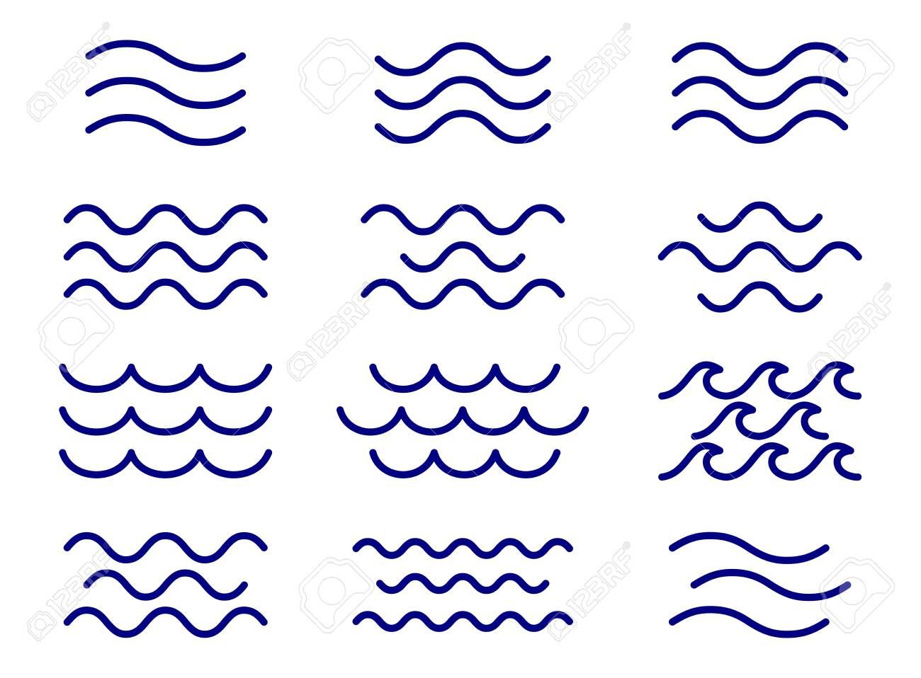 Set of thin line waves vector, collection - 126493421