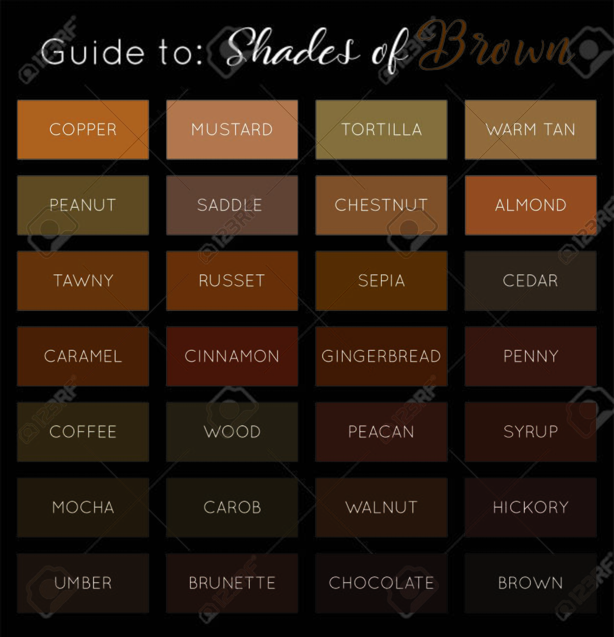 Shades Of Brown Vector Brown Color Palette Guide Royalty Free Cliparts Vectors And Stock Illustration Image 132768130