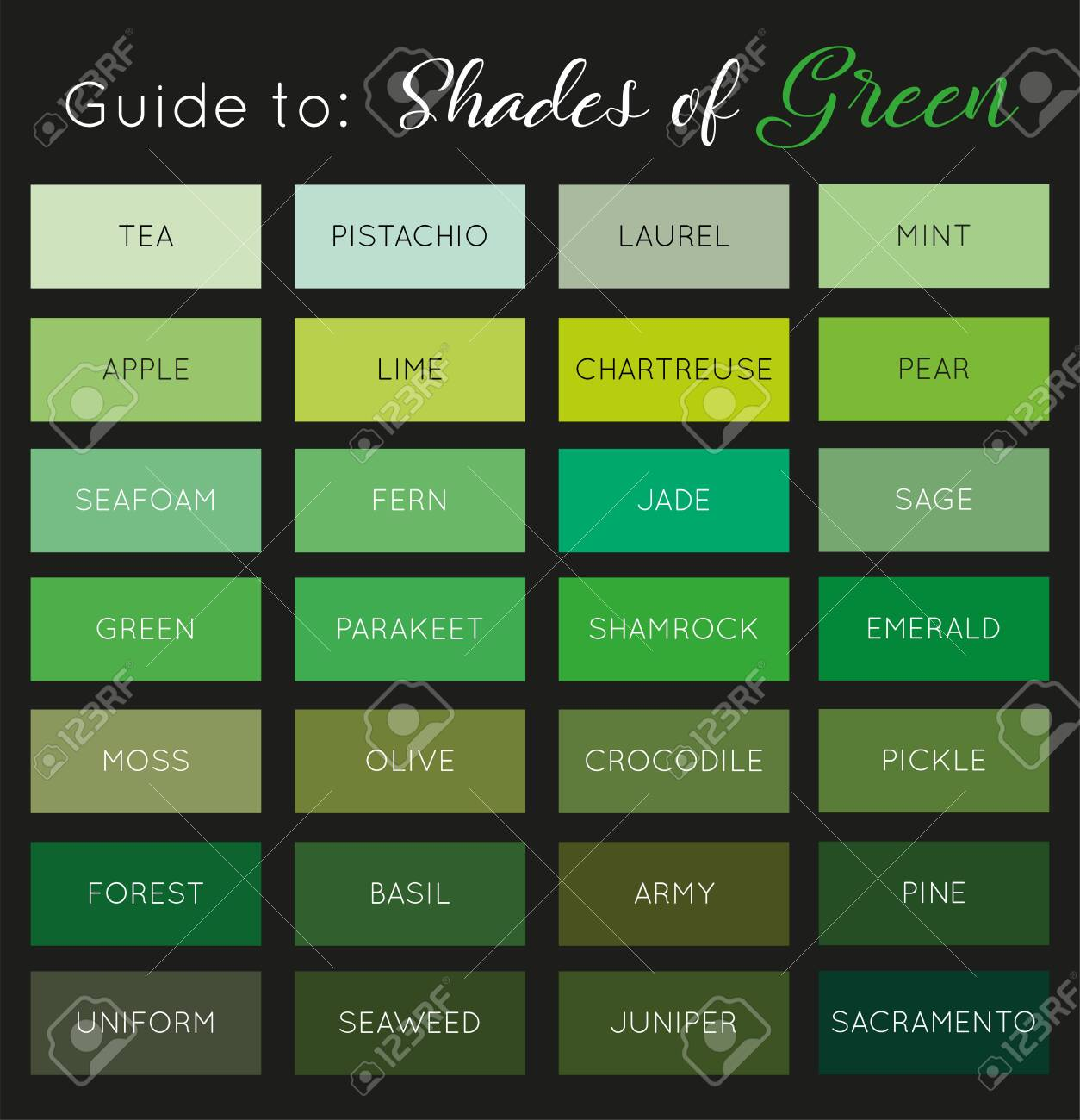 Guide To Shades Of Green Vector Royalty Free Cliparts Vectors And Stock Illustration Image 139302326