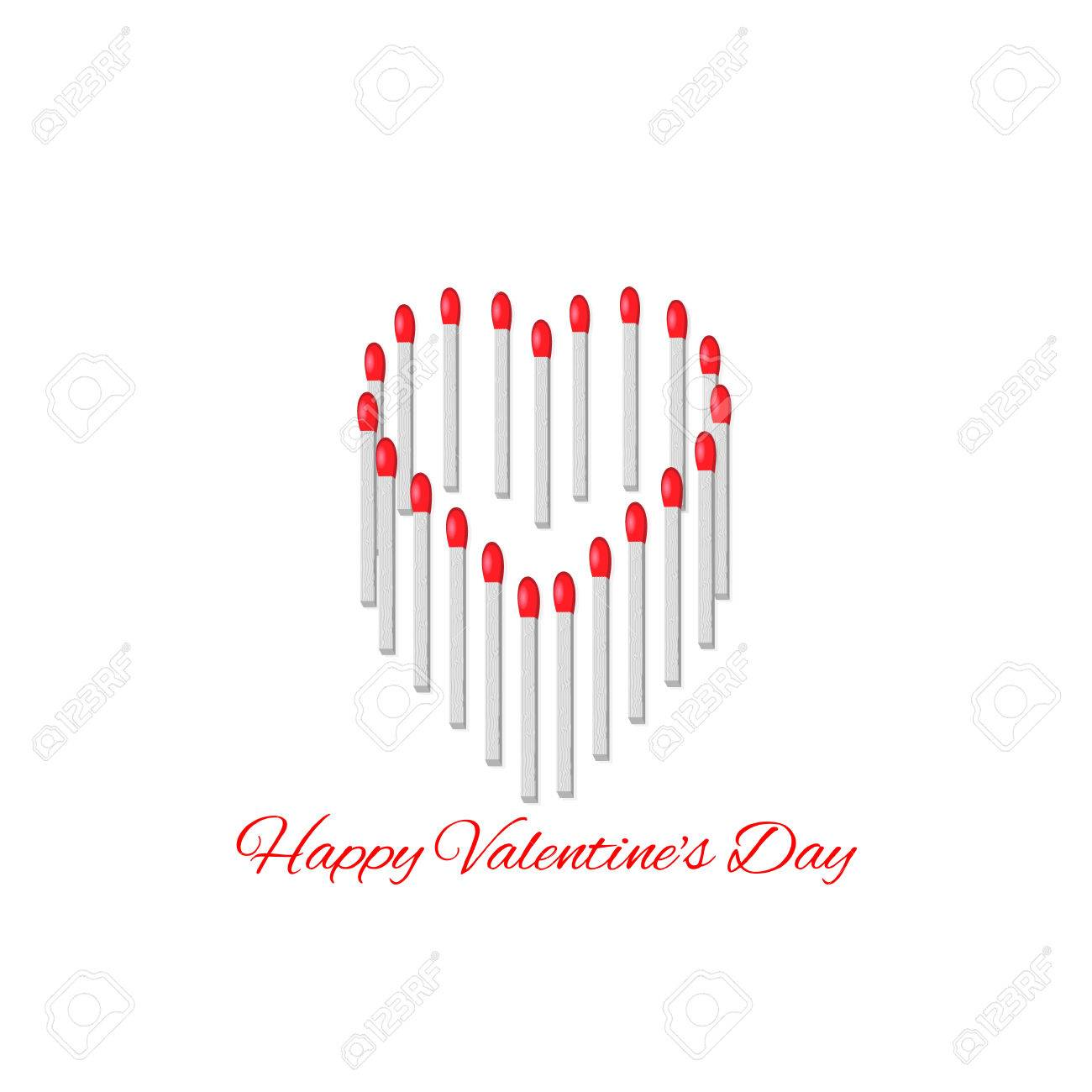 Happy valentines day creative greetings from matches isolated happy valentines day creative greetings from matches isolated on white background stock vector 34981725 kristyandbryce Choice Image
