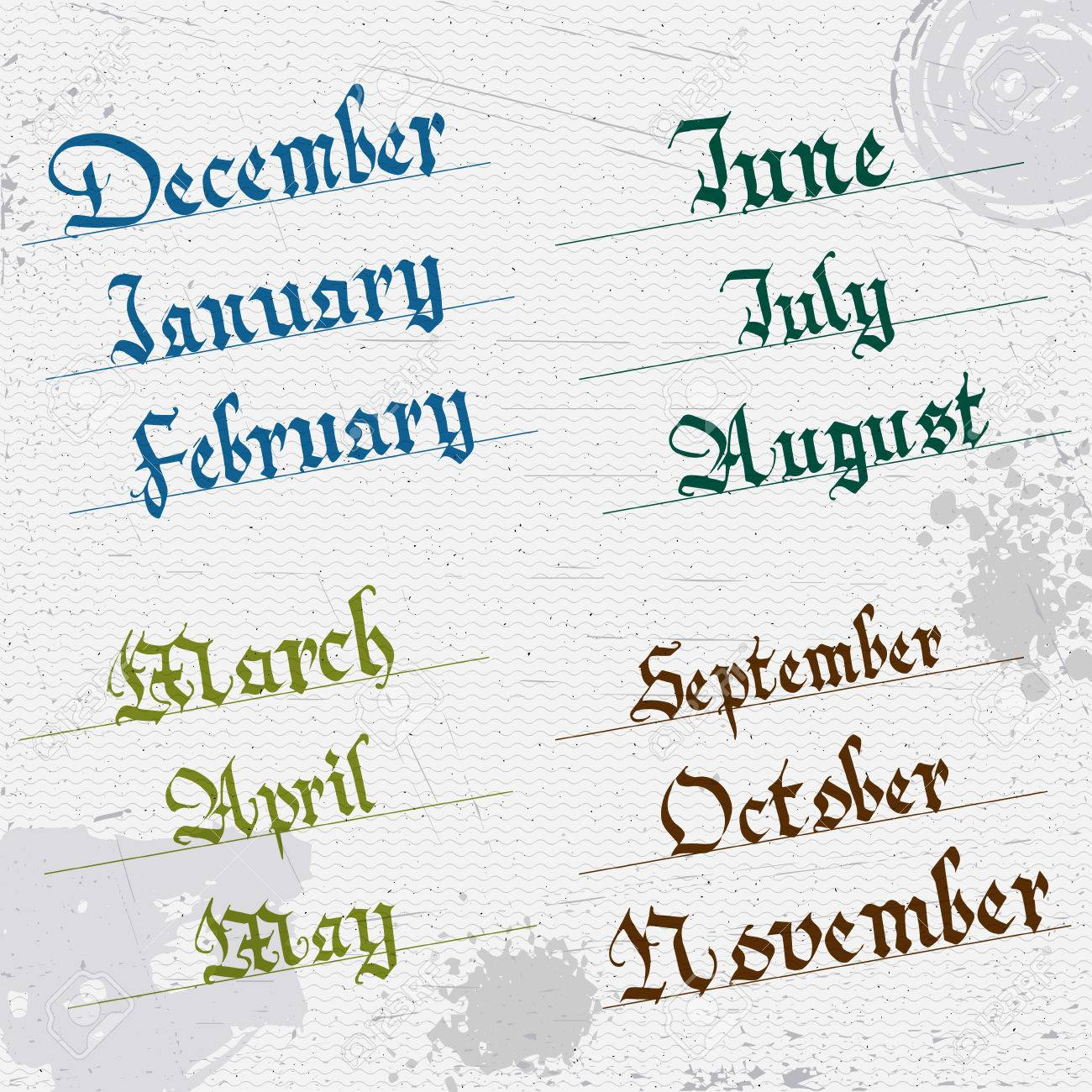 Months Of The Year Hand Writing Gothic January February March April May June July