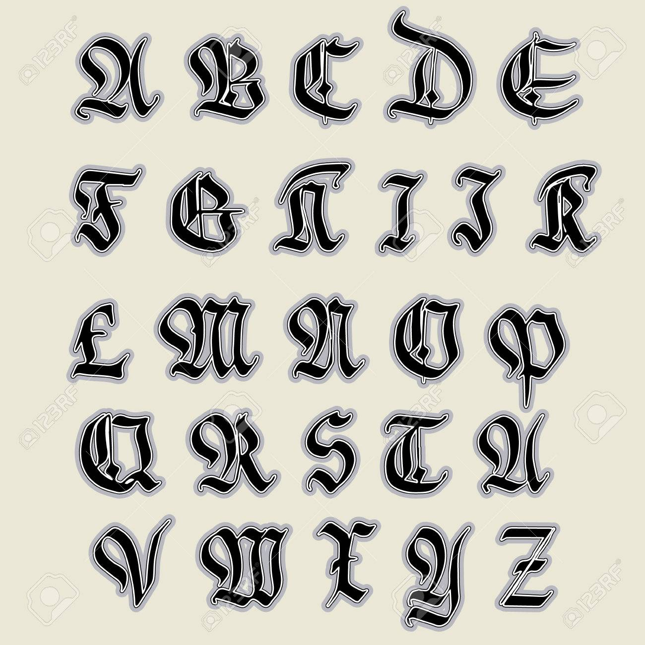 Set gothic abc gothic handmade can be used to design greeting set gothic abc gothic handmade can be used to design greeting cards kristyandbryce Images