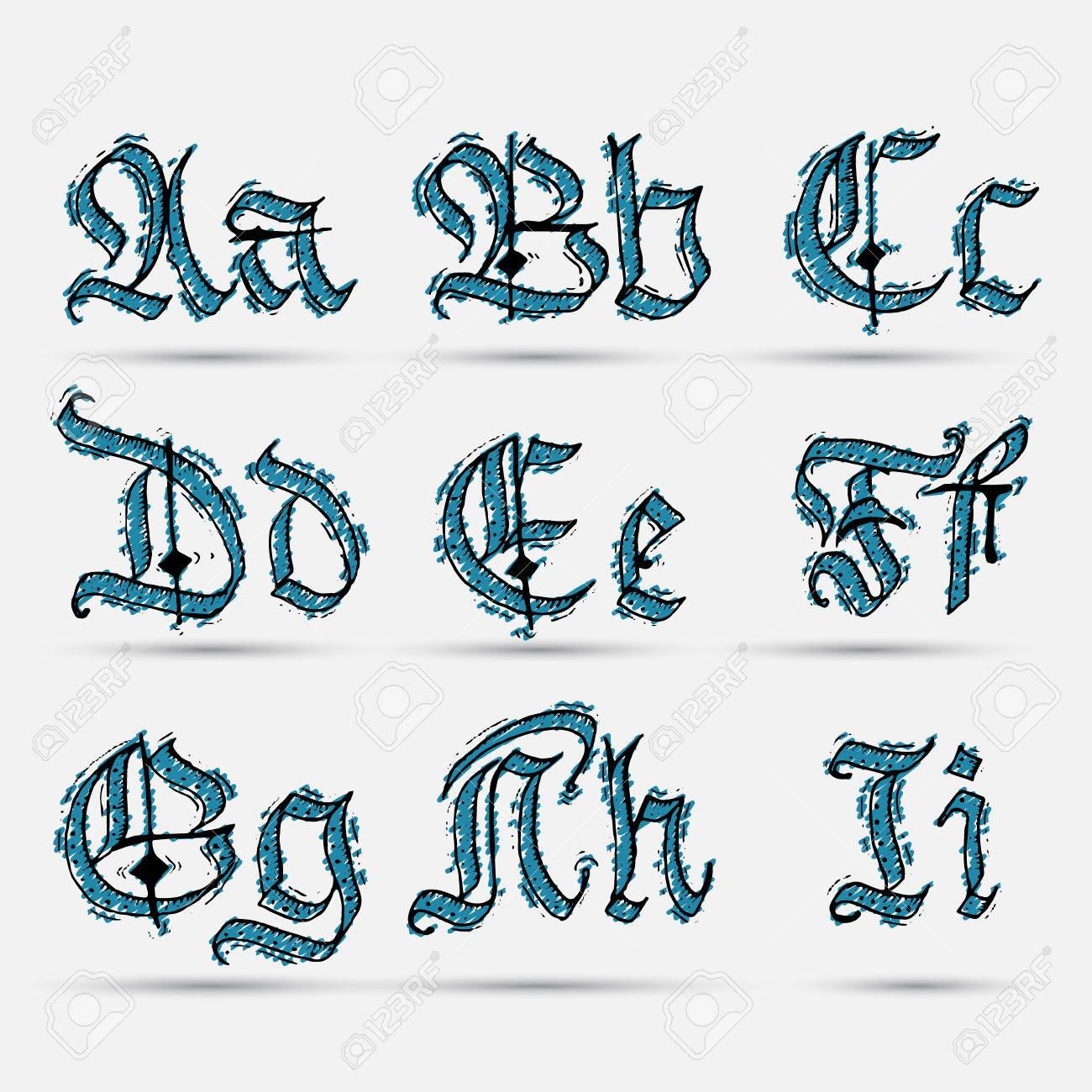 Set Gothic Abc Handmade Can Be Used To Design Greeting Cards