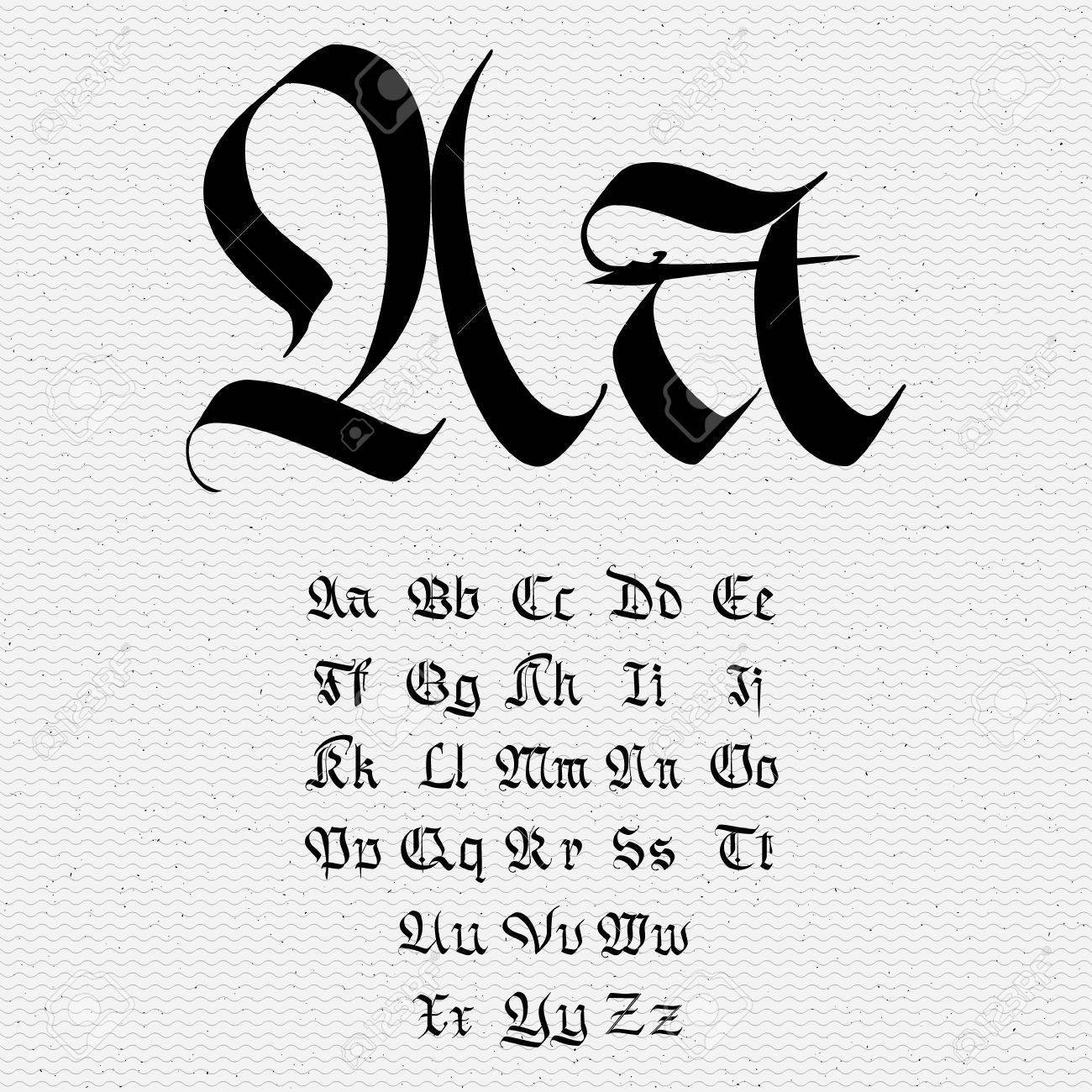 Set Gothic Abc Gothic Handmade Can Be Used To Design Greeting