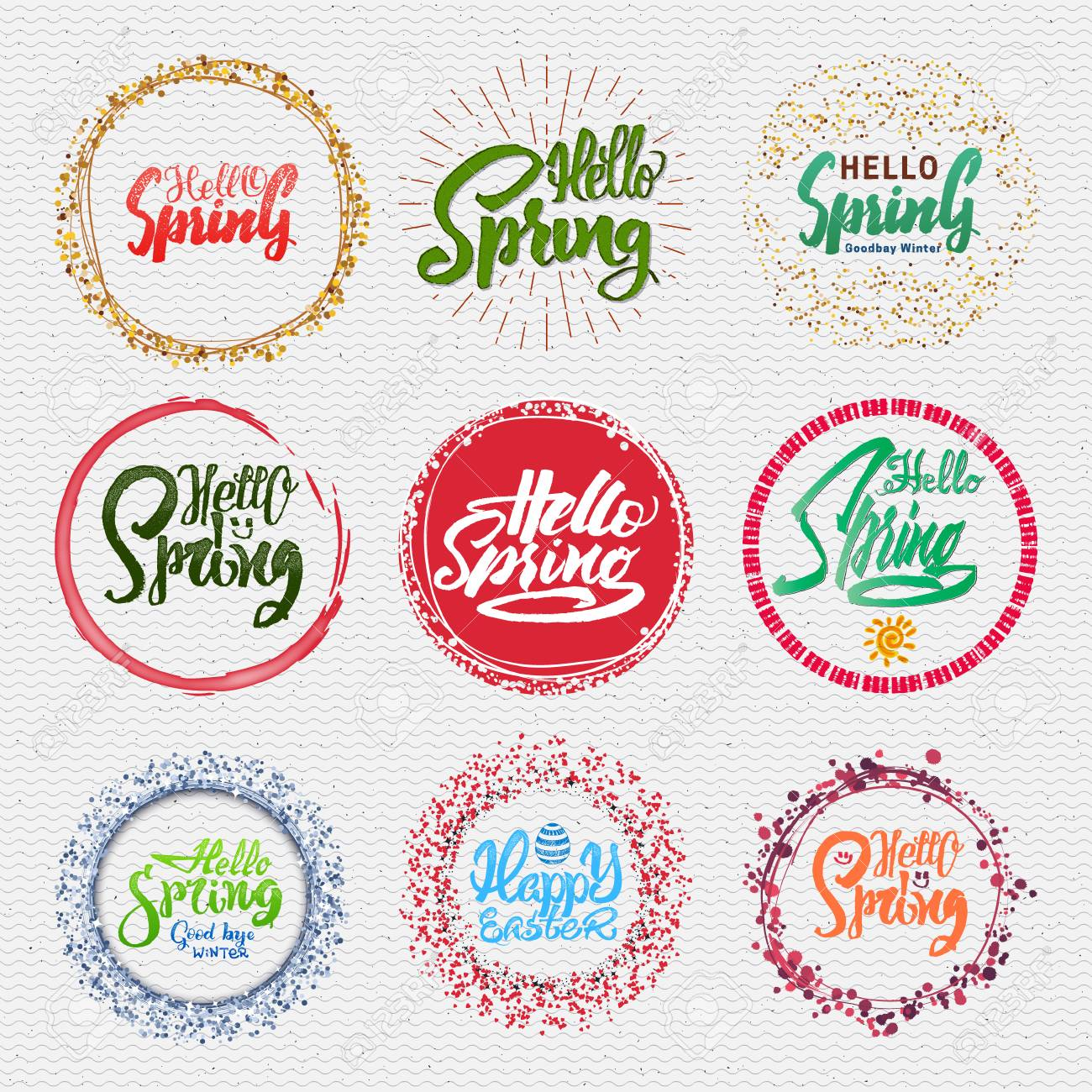 Hello Spring Lettering Calligraphy Sticker For Greeting Cards