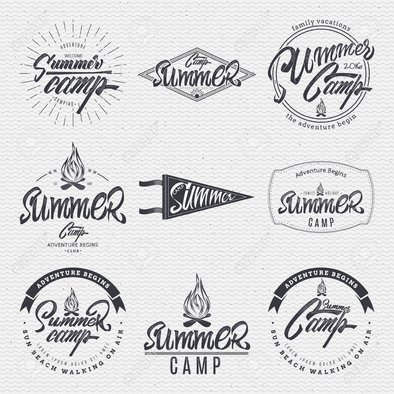 summer camp typographic design mark made using a combination of the composition of geometric forms, rays, letters, painted by hand with the help of lettering and calligraphy skills - 55199126