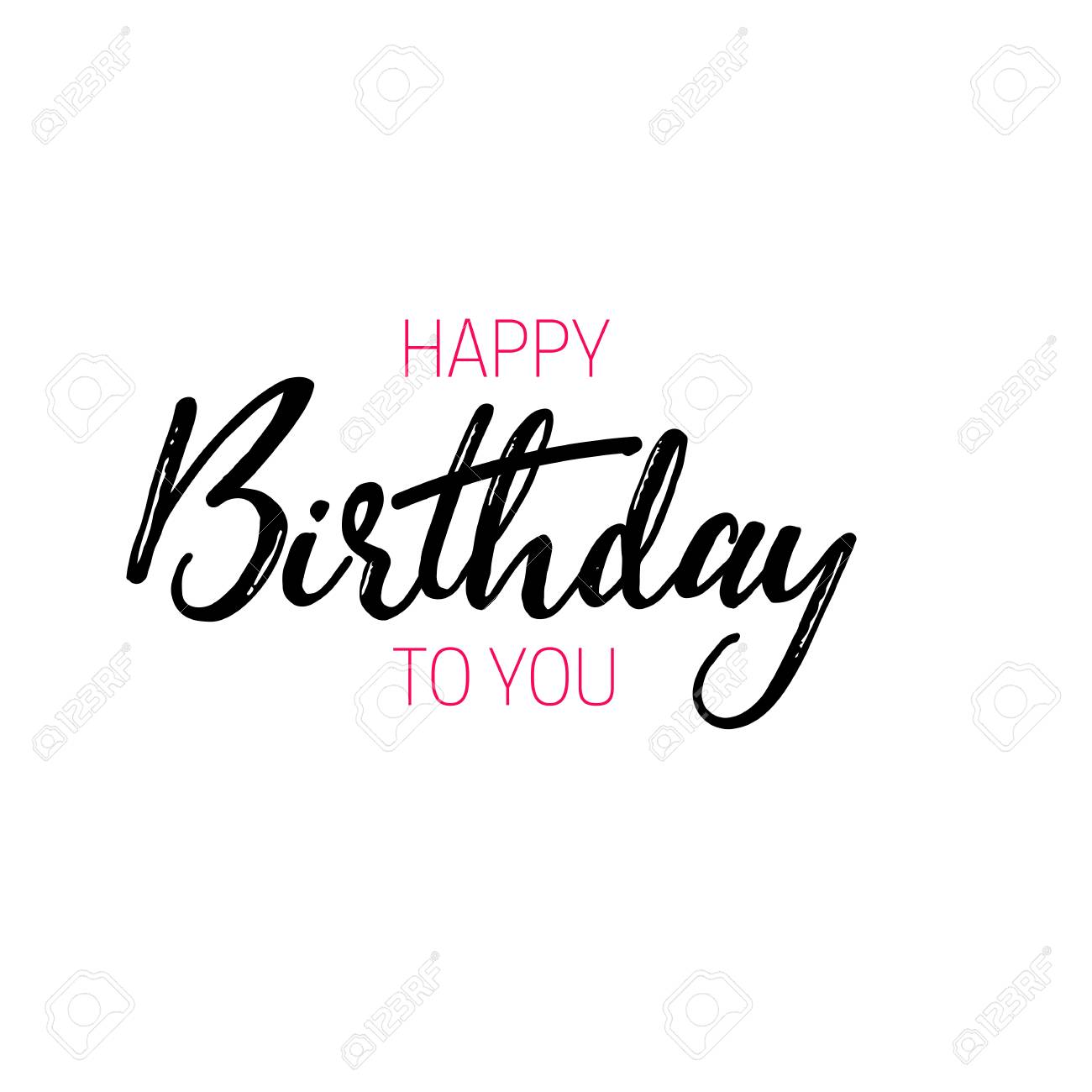 Lettering and calligraphy modern happy birthday to you sticker stamp logo