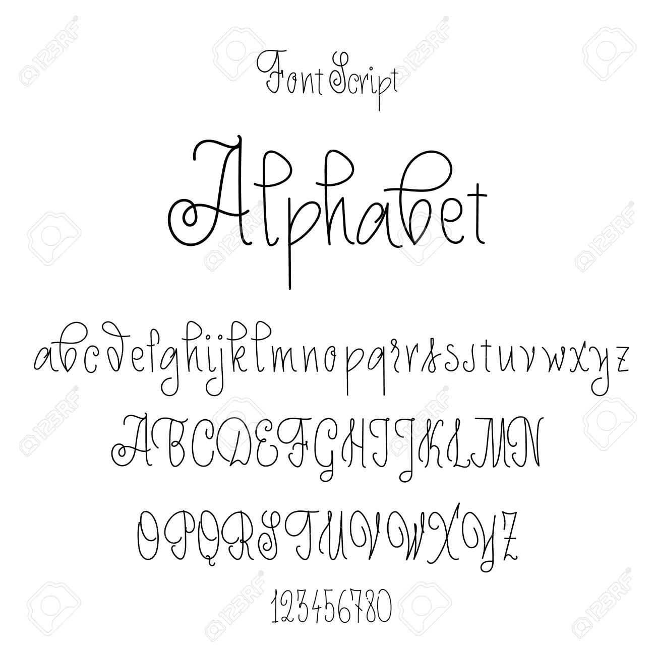 Schriftart Auf Der Grundlage Von Handschrift Kalligraphie Gezeichnet