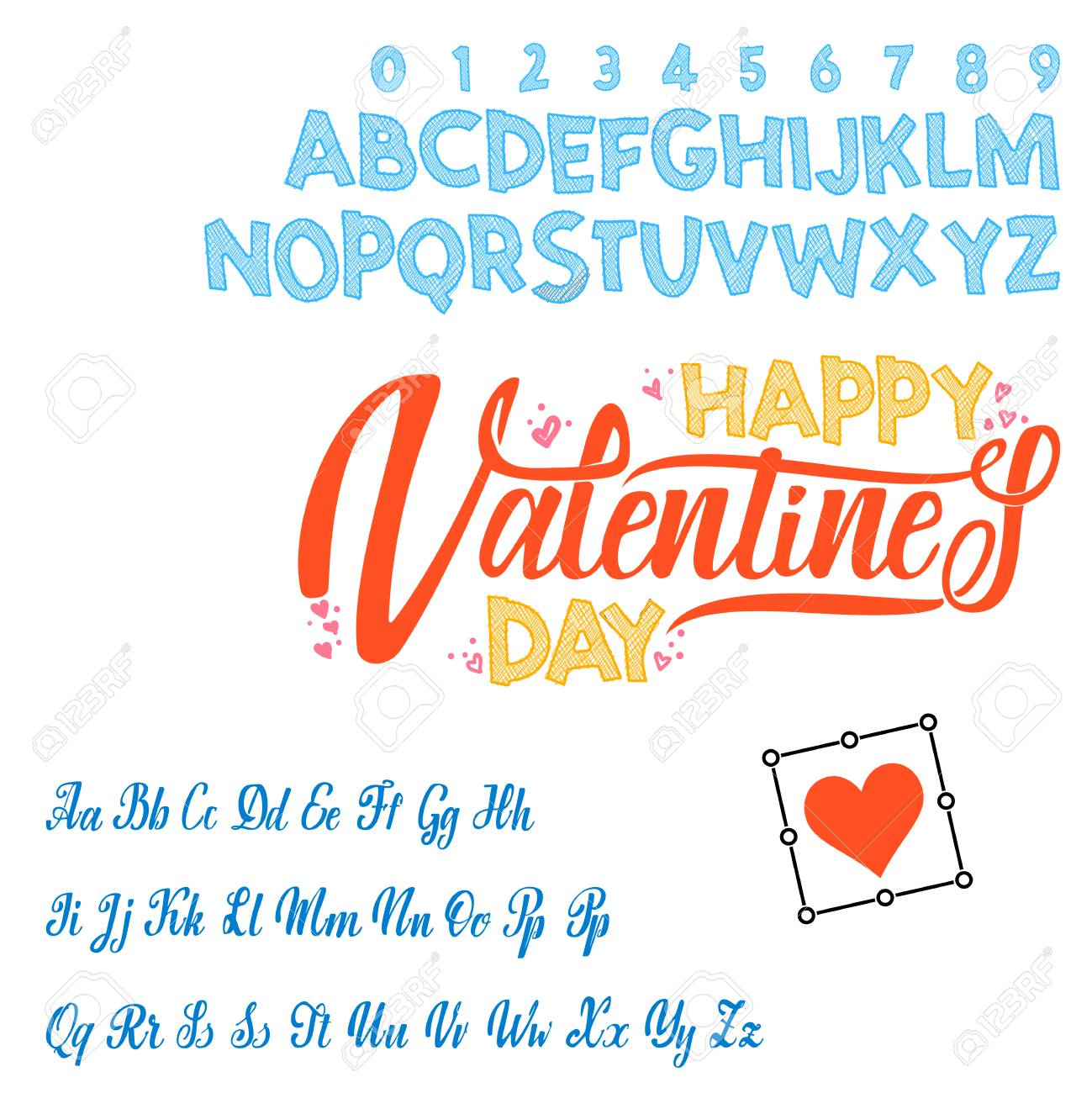 Happy Valentines Day Text Hand Lettering Script Font Typography Alphabet For Designs Packaging