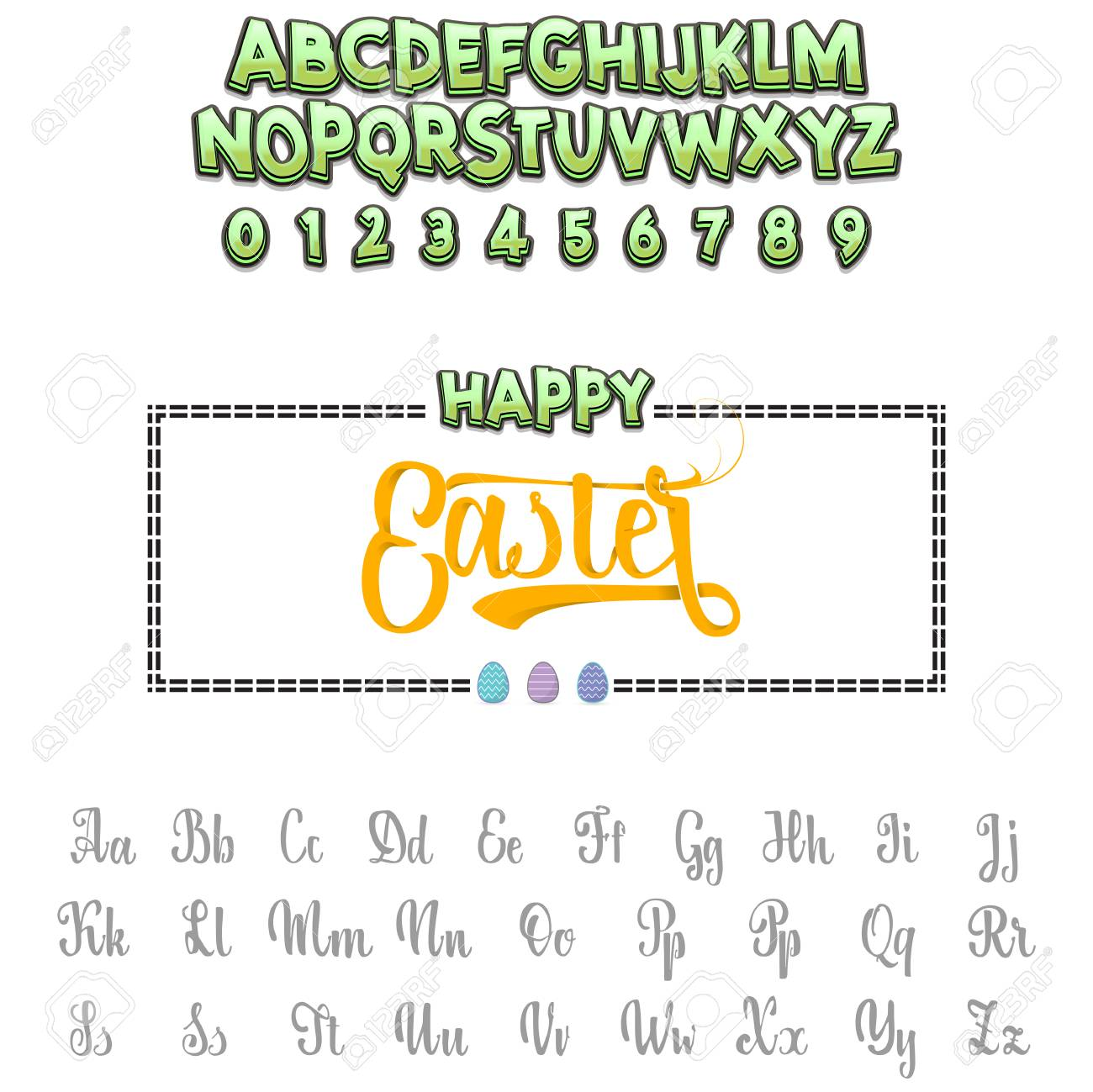 Happy Easter - font. Vector alphabet.Hand Lettering script font. Typography alphabet for