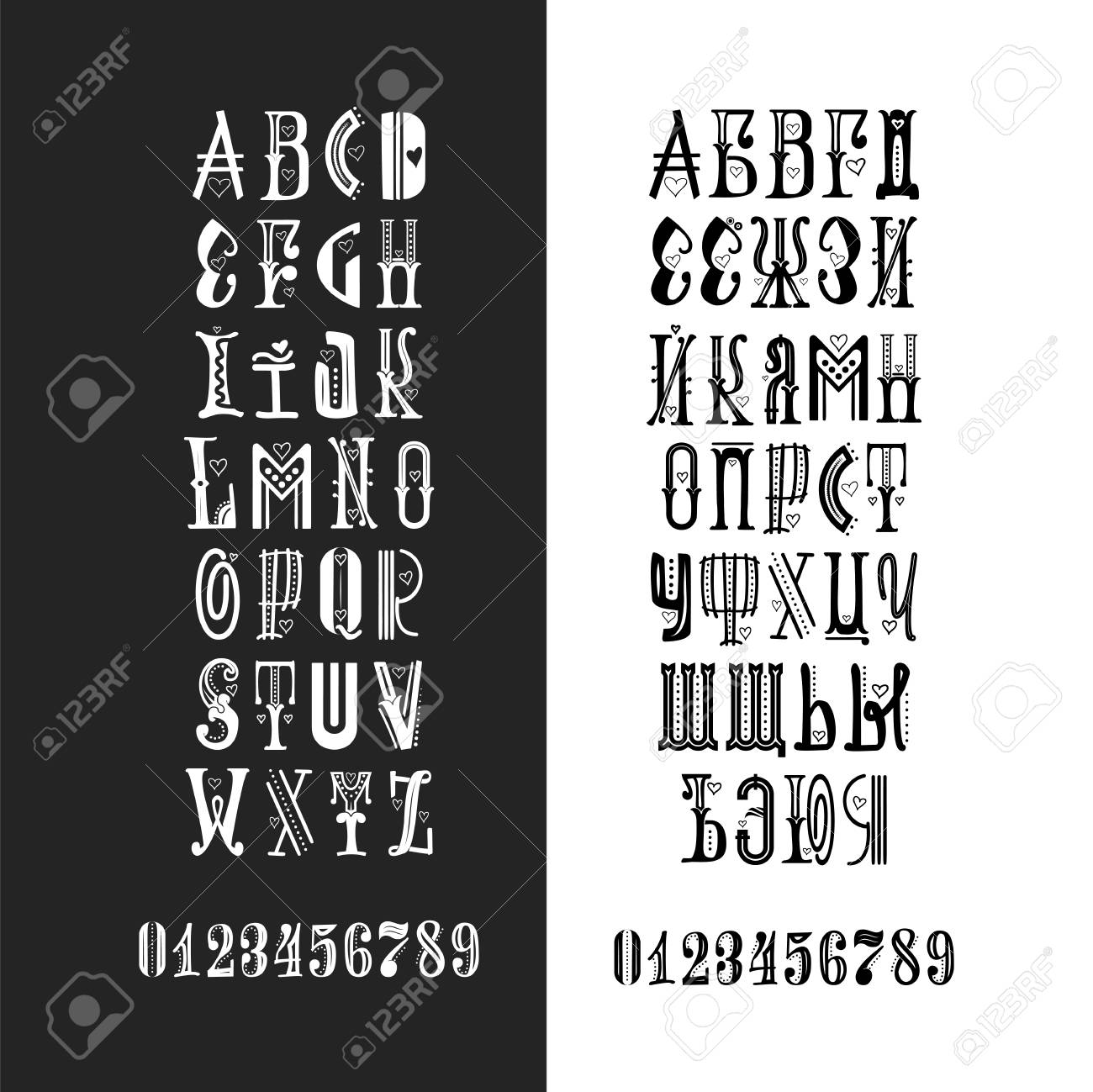 Vector Alphabet  Cyrillic and Latin   Lettering font  Unique
