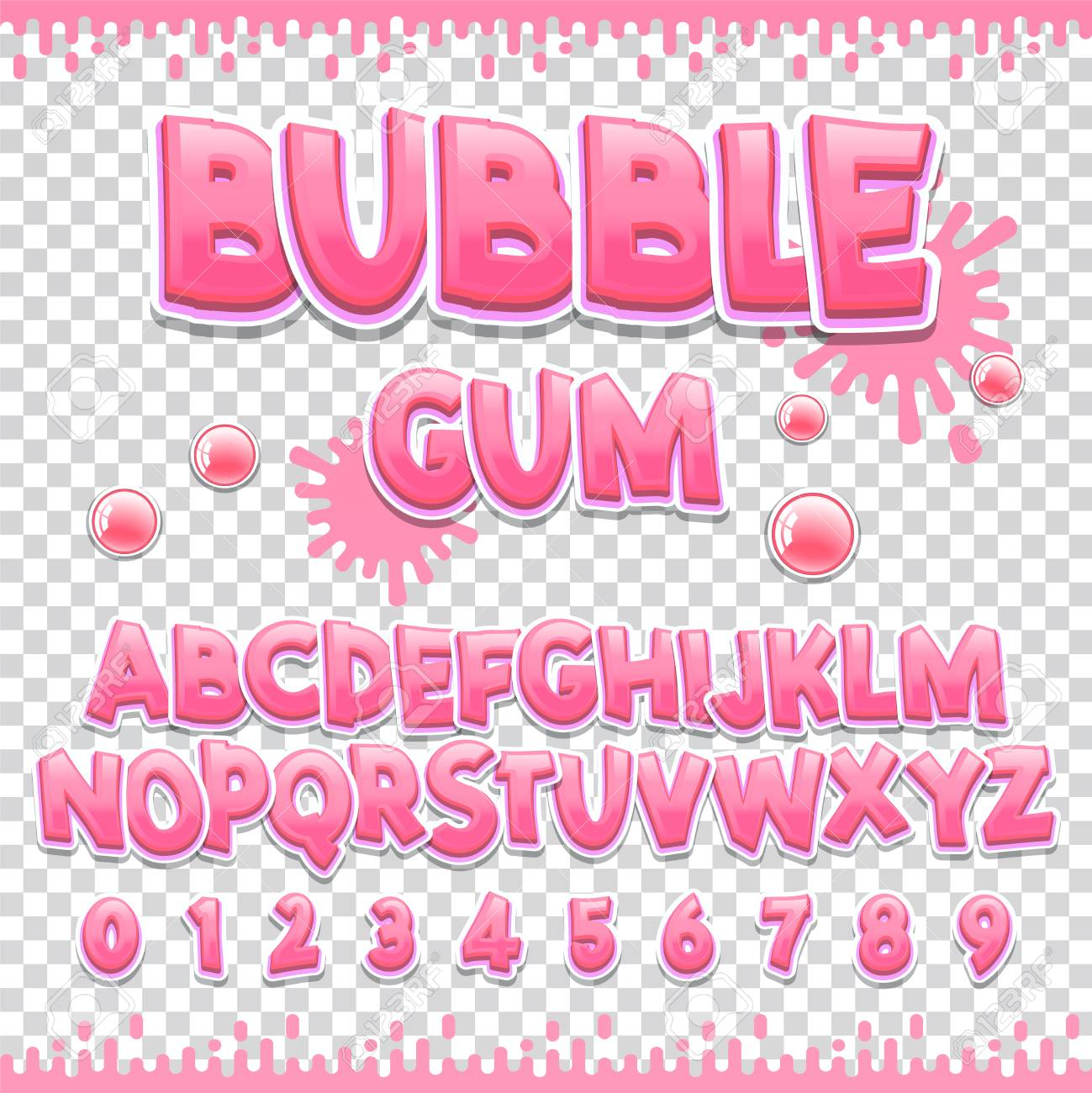 Bubble gum Latin font design  Sweet abc letters and numbers