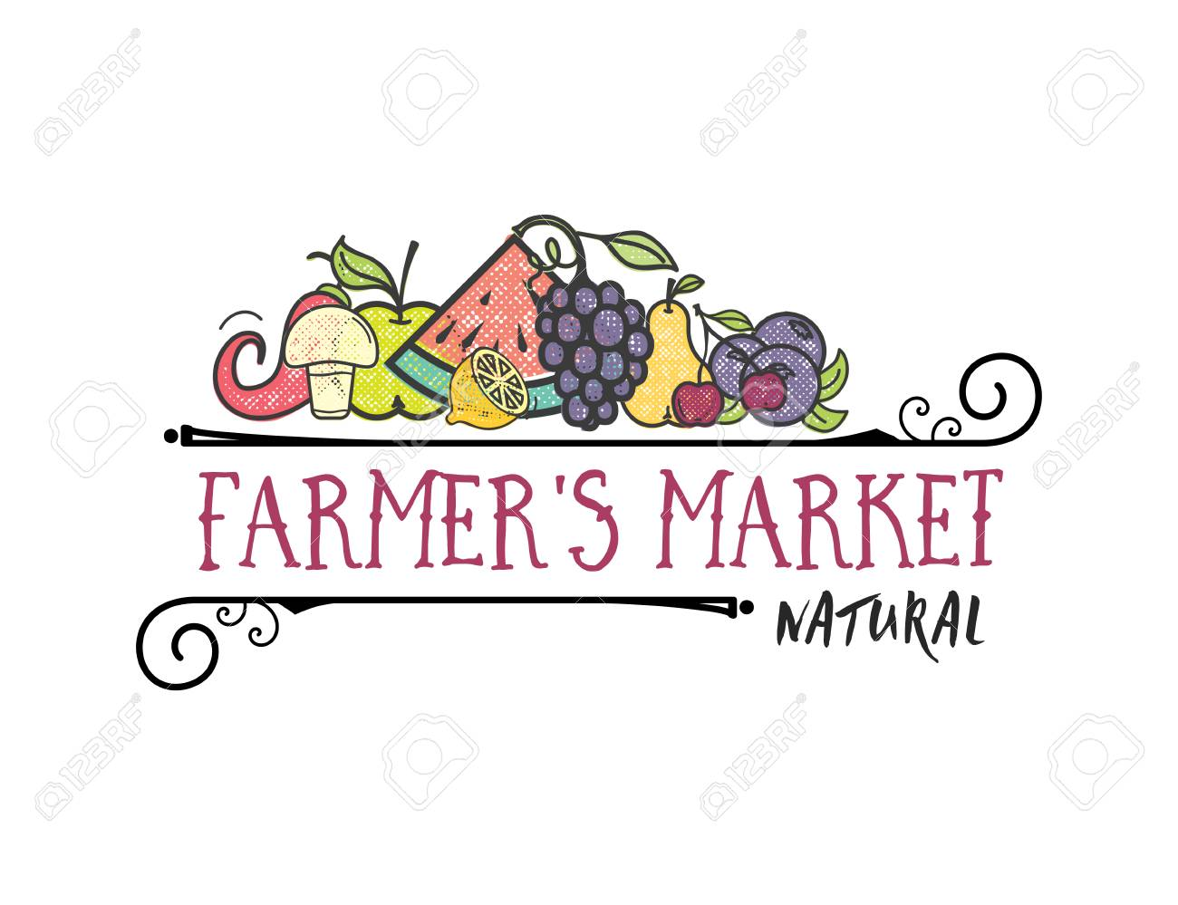 Fruits and vegetables, vegetarian banner Farmers market, isolated color vector icons. - 101919171