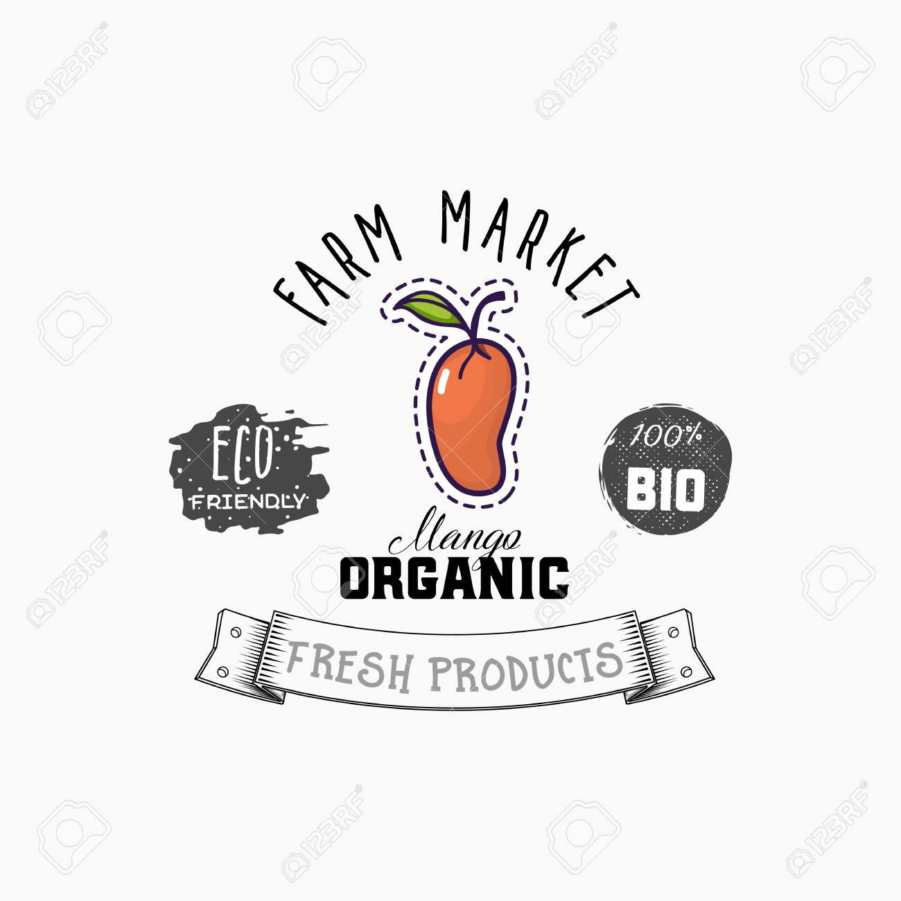Bio sticker and eco products. Mango web element, Isolated Vector. - 104577020